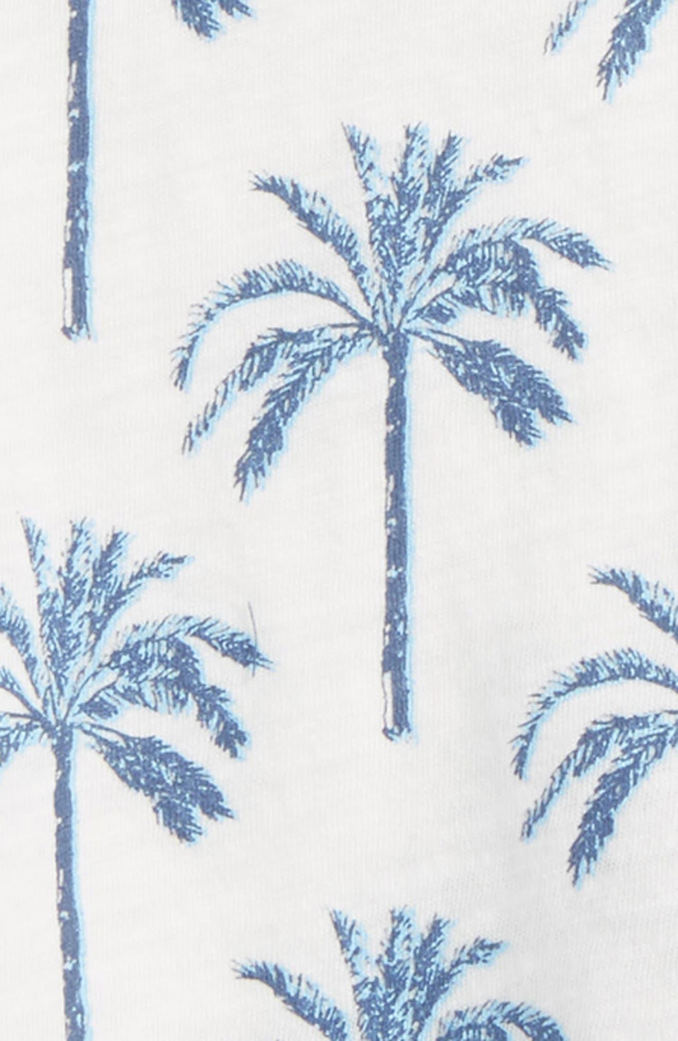 Palm Print T-Shirt & Shorts Set,                             Alternate thumbnail 2, color,                             Dark Blue Heather