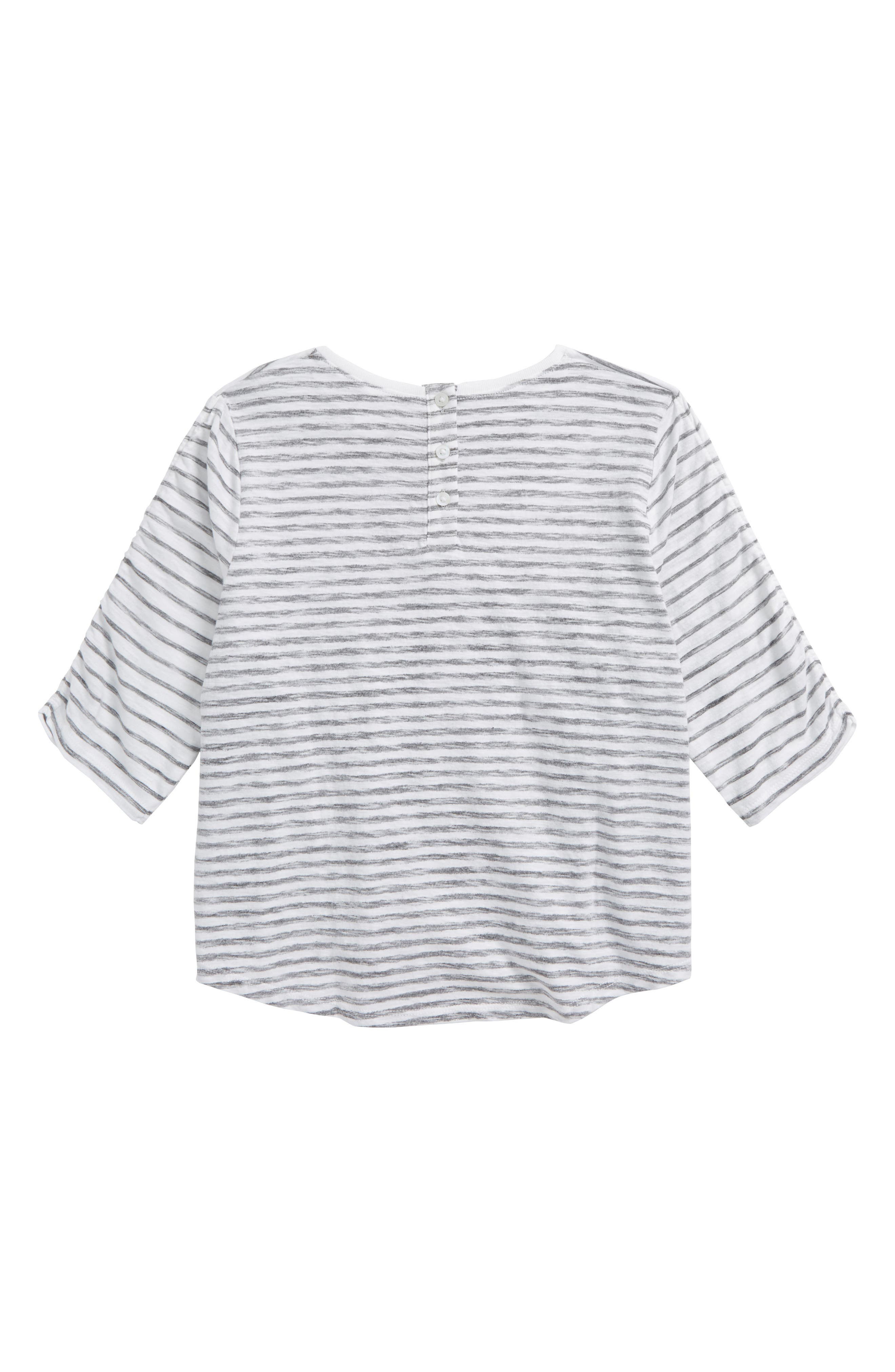 Ruched Sleeve Tee,                             Alternate thumbnail 2, color,                             White- Black Stripe