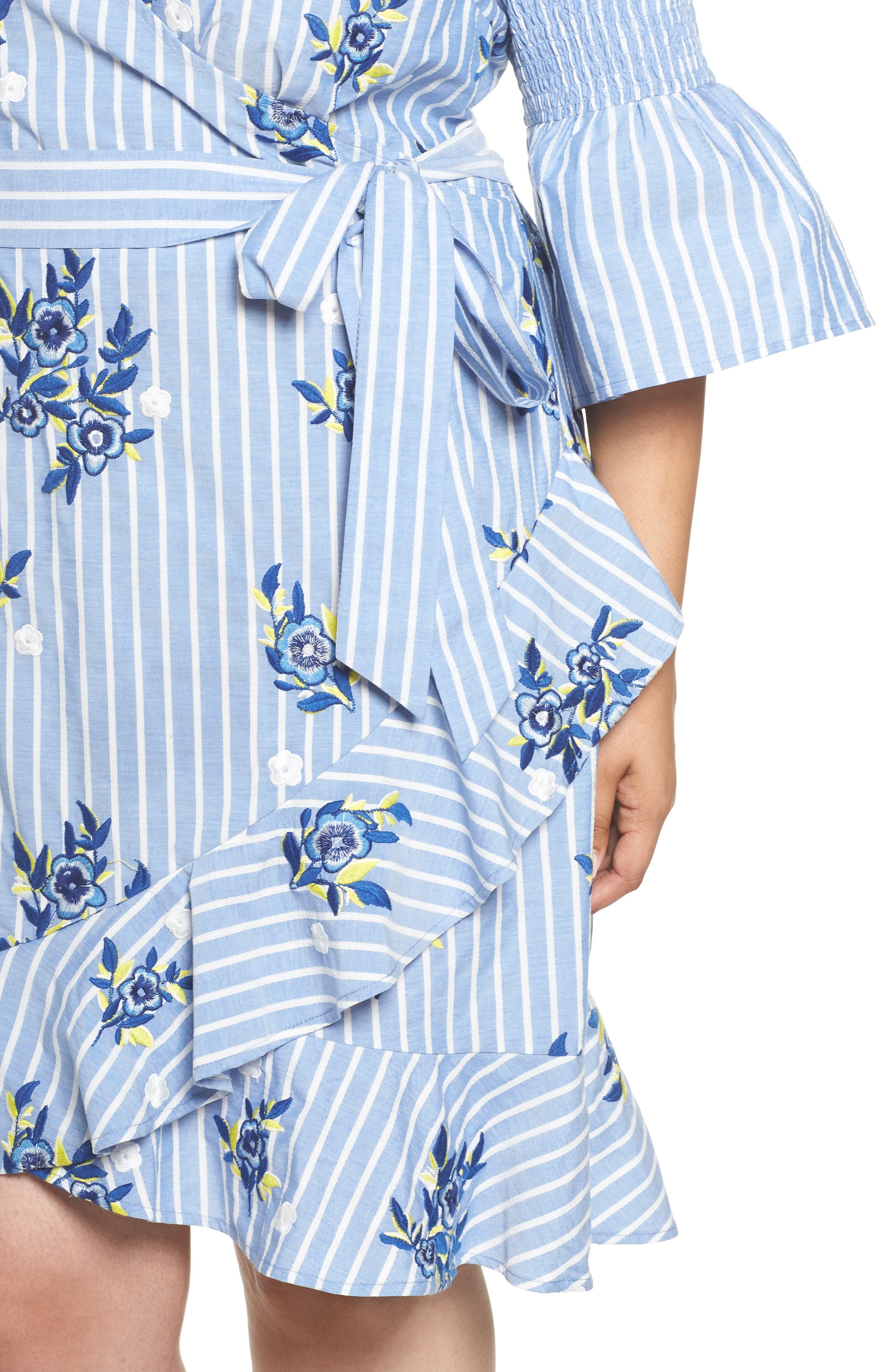 Embroidered Stripe Wrap Dress,                             Alternate thumbnail 4, color,                             Blue/ White