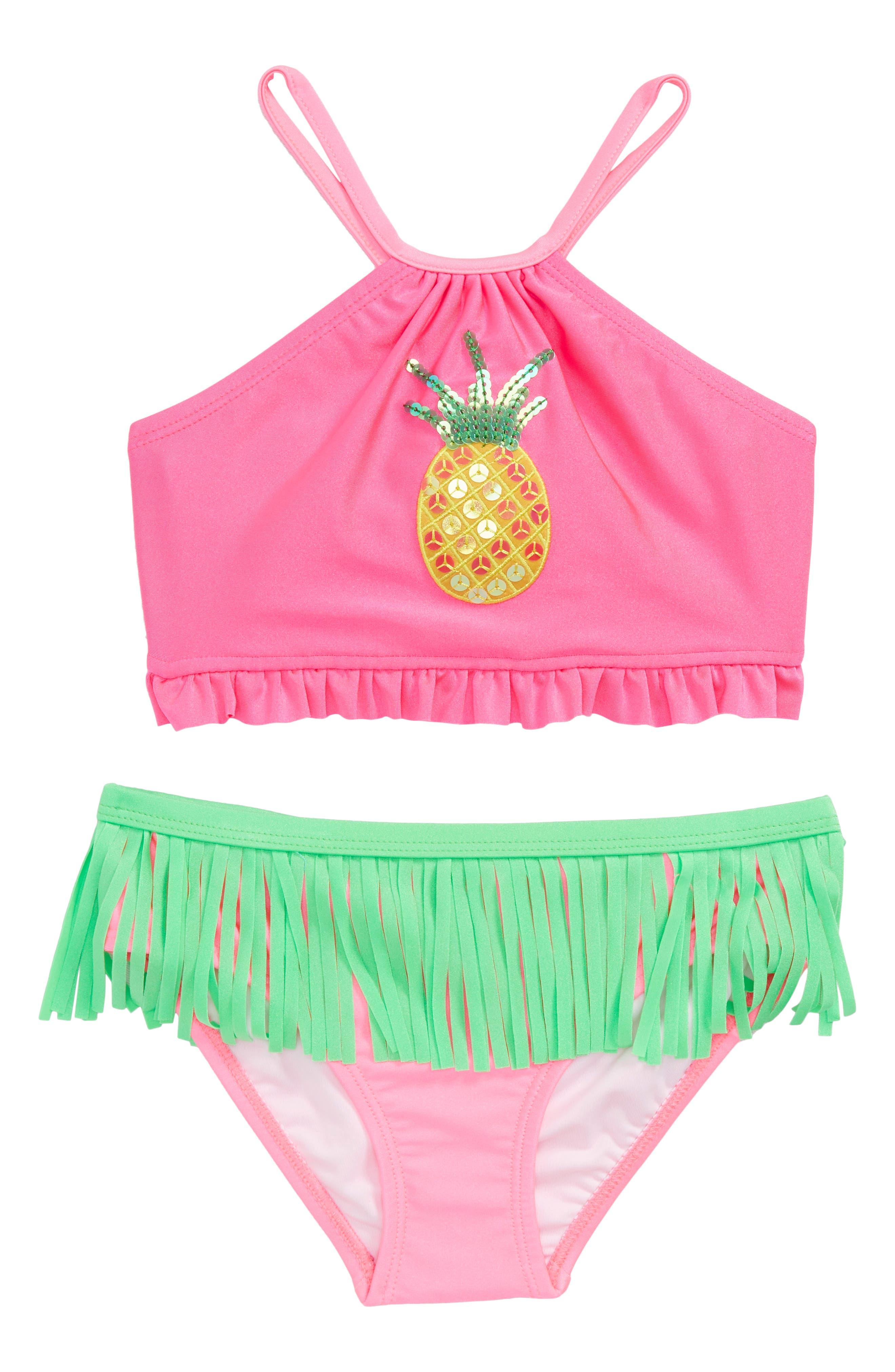 Main Image - Love U Lots Pineapple Hula Two-Piece Bikini Swimsuit (Toddler Girls & Little Girls)