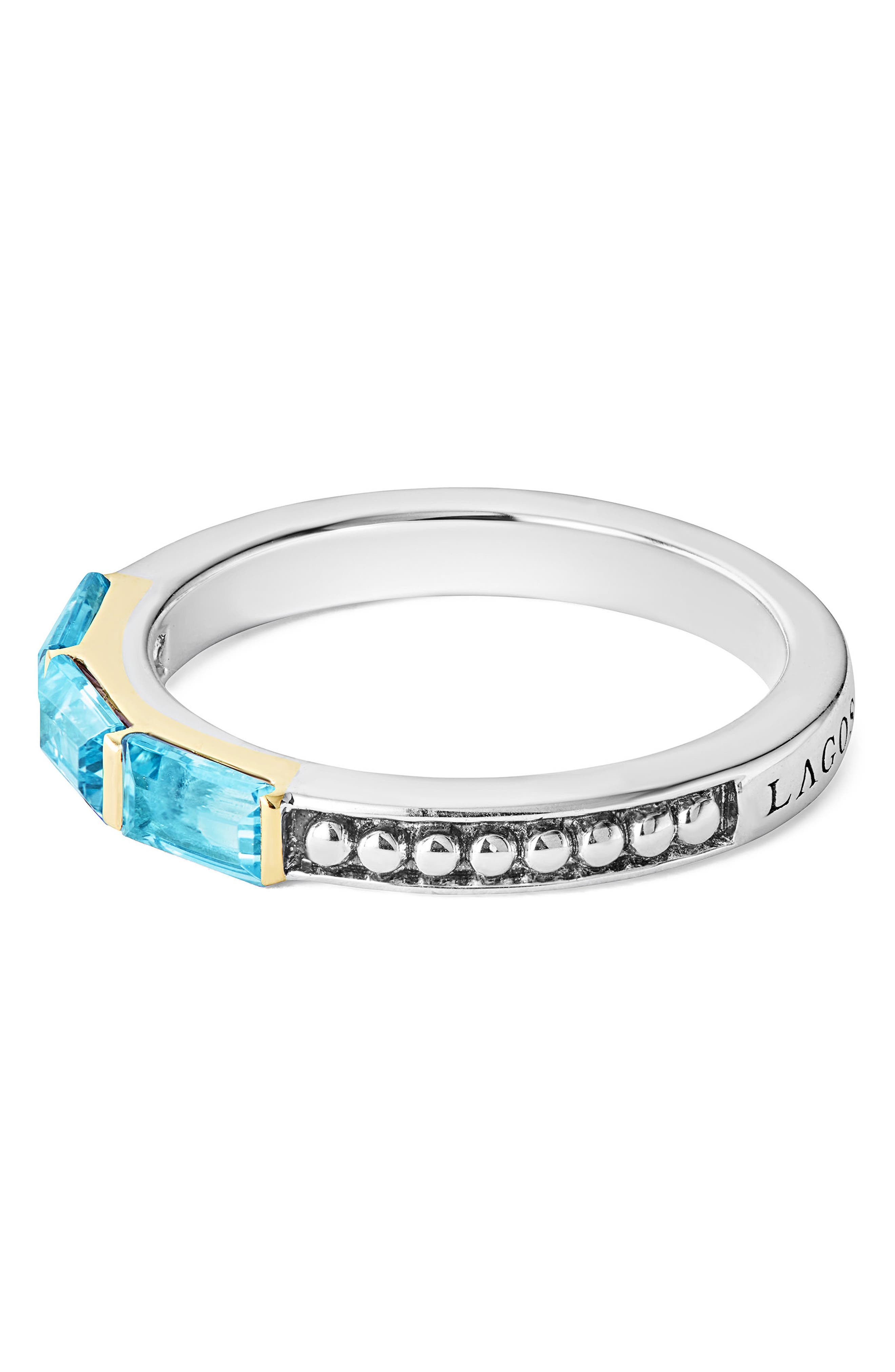 Gemstone Baguette Stackable Ring,                             Alternate thumbnail 2, color,                             Silver/ 18K Gold/ Blue Topaz