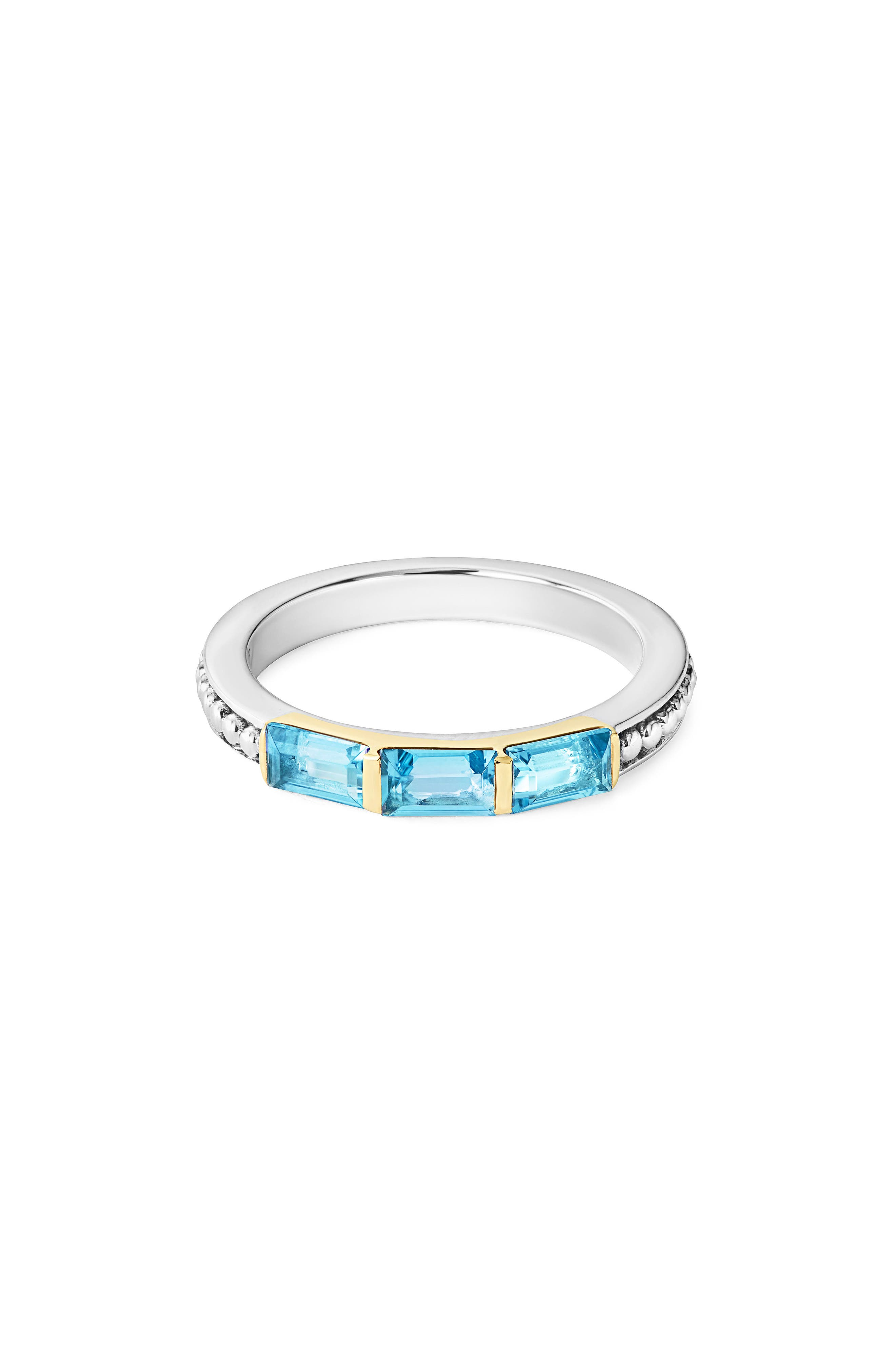 Gemstone Baguette Stackable Ring,                         Main,                         color, Silver/ 18K Gold/ Blue Topaz