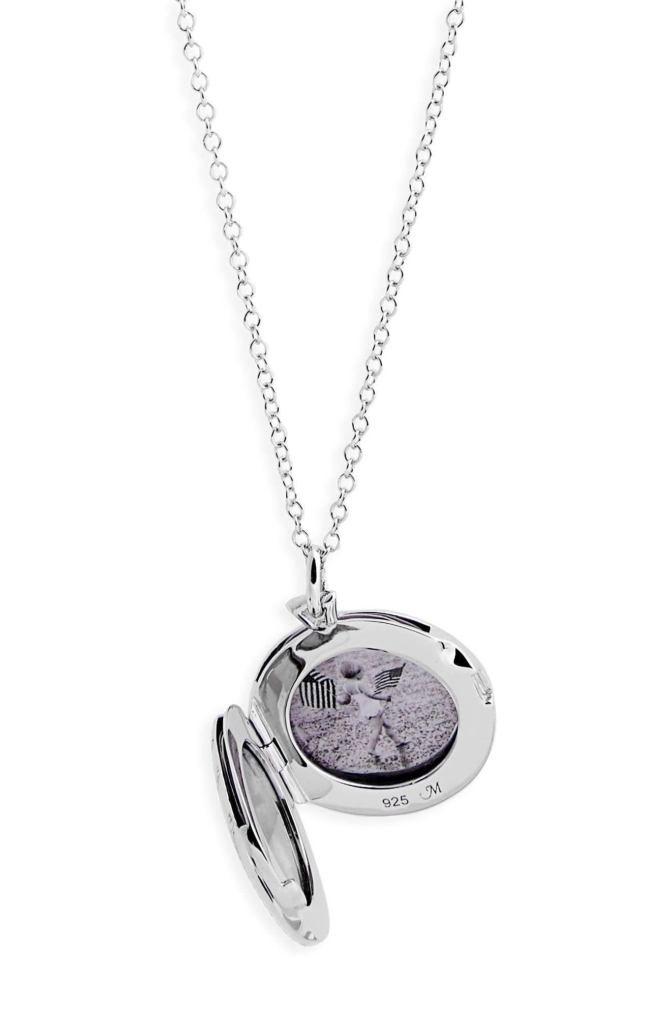 Center Diamond Locket Necklace,                             Alternate thumbnail 3, color,                             Sterling Silver