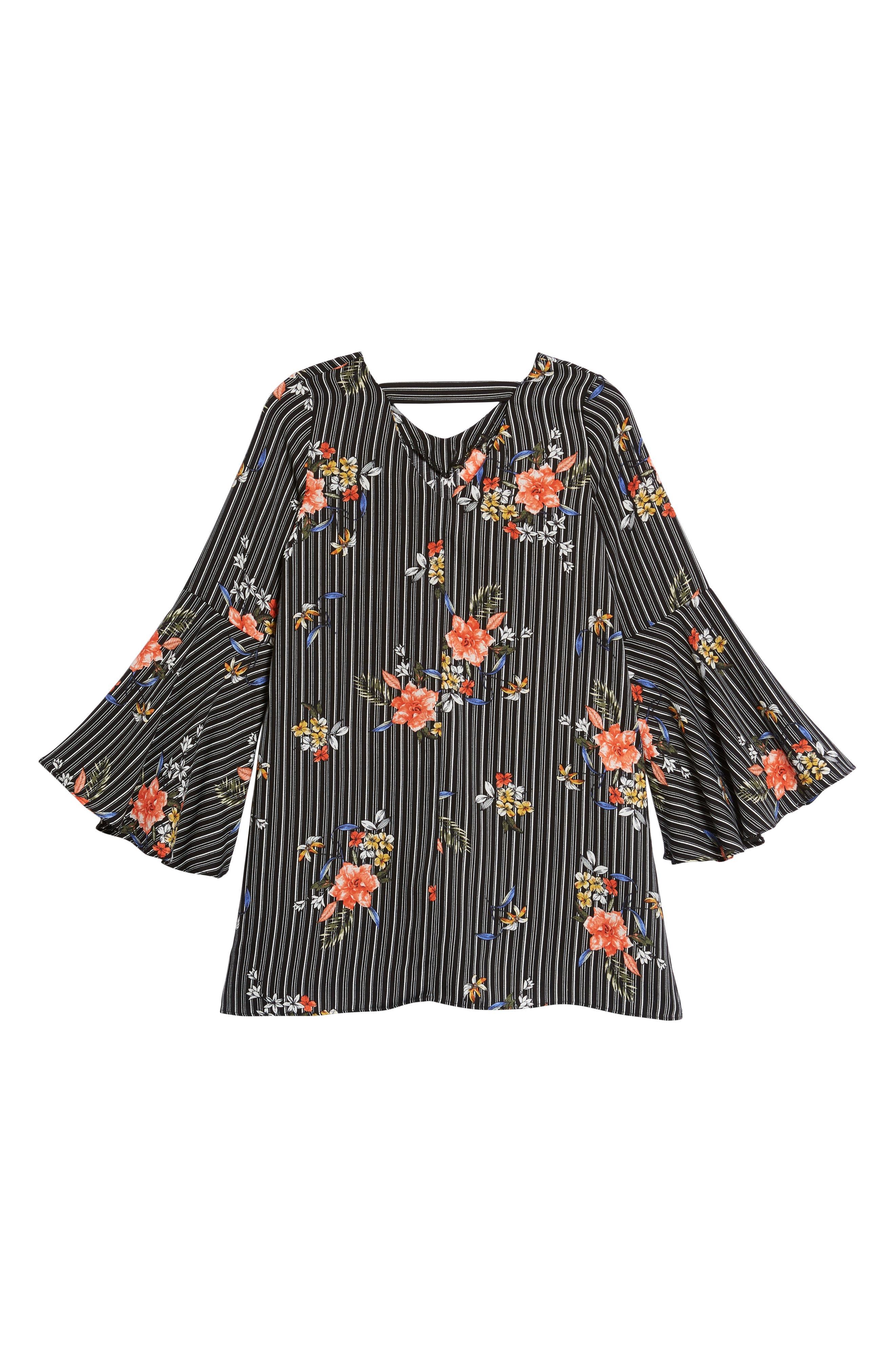 Print Bell Sleeve Shift Dress,                             Alternate thumbnail 2, color,                             002 Black