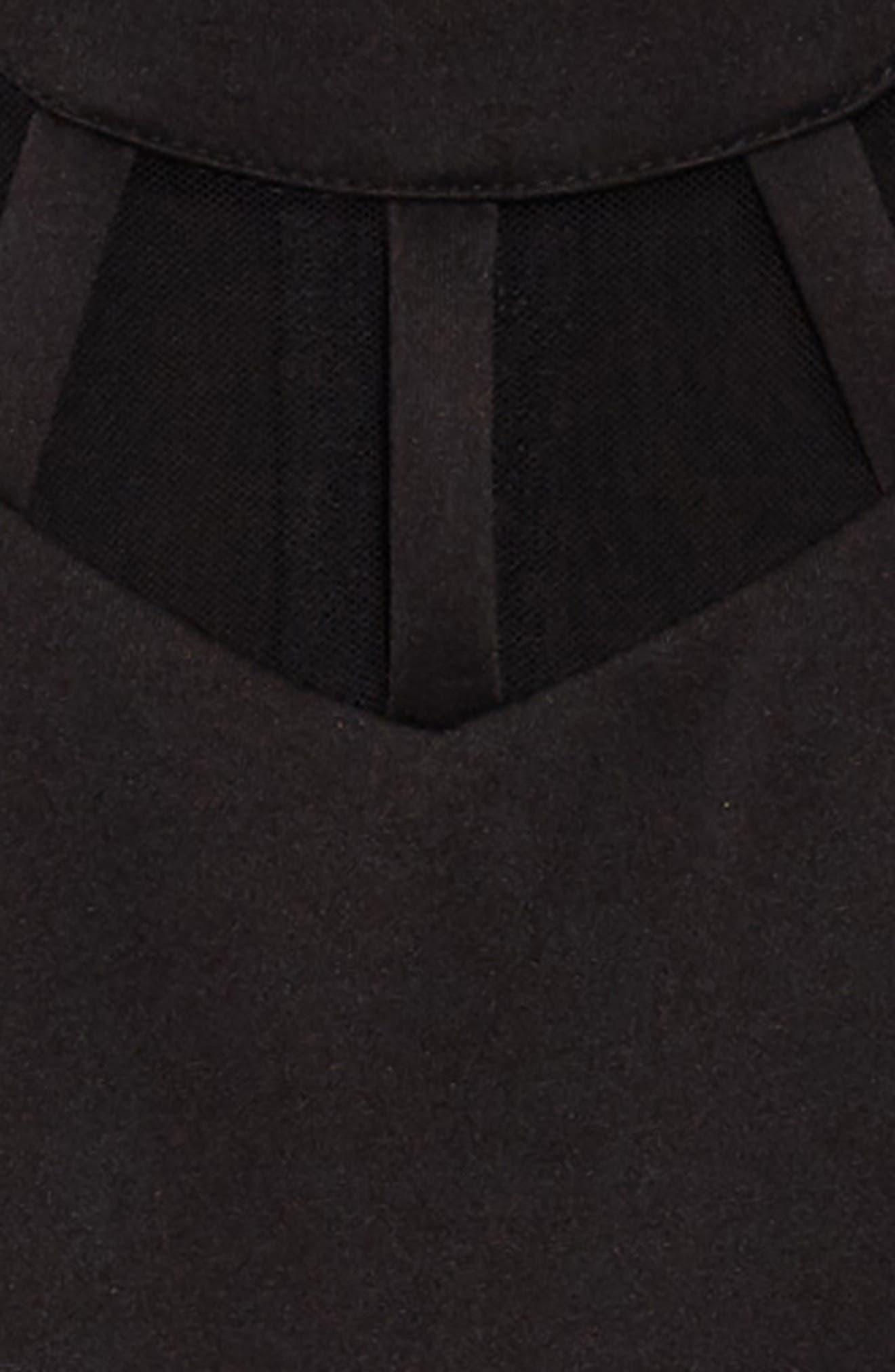 Illusion Neck Skater Dress,                             Alternate thumbnail 3, color,                             Black