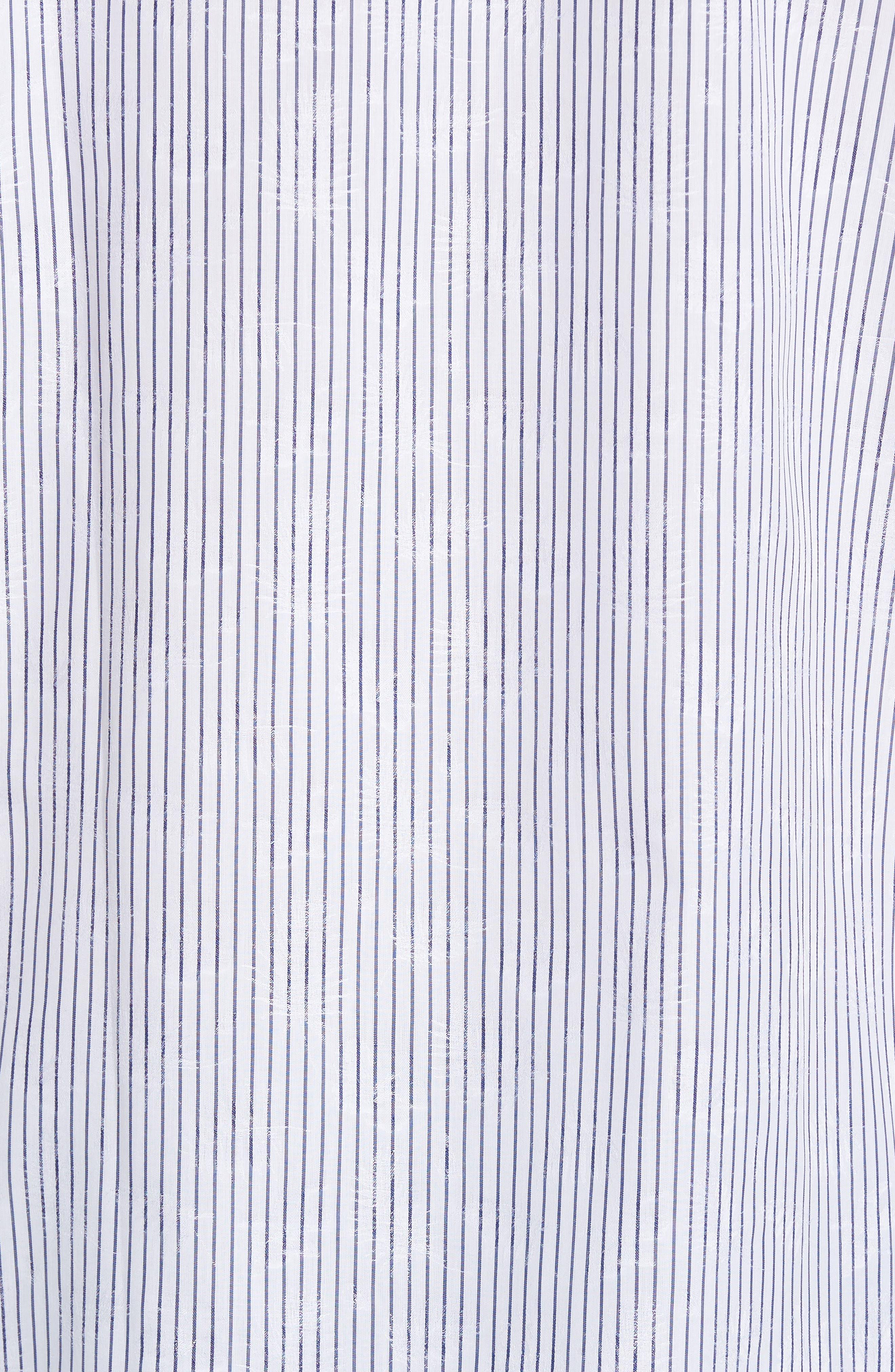 Classic Fit Stripe Jacquard Sport Shirt,                             Alternate thumbnail 5, color,                             Navy