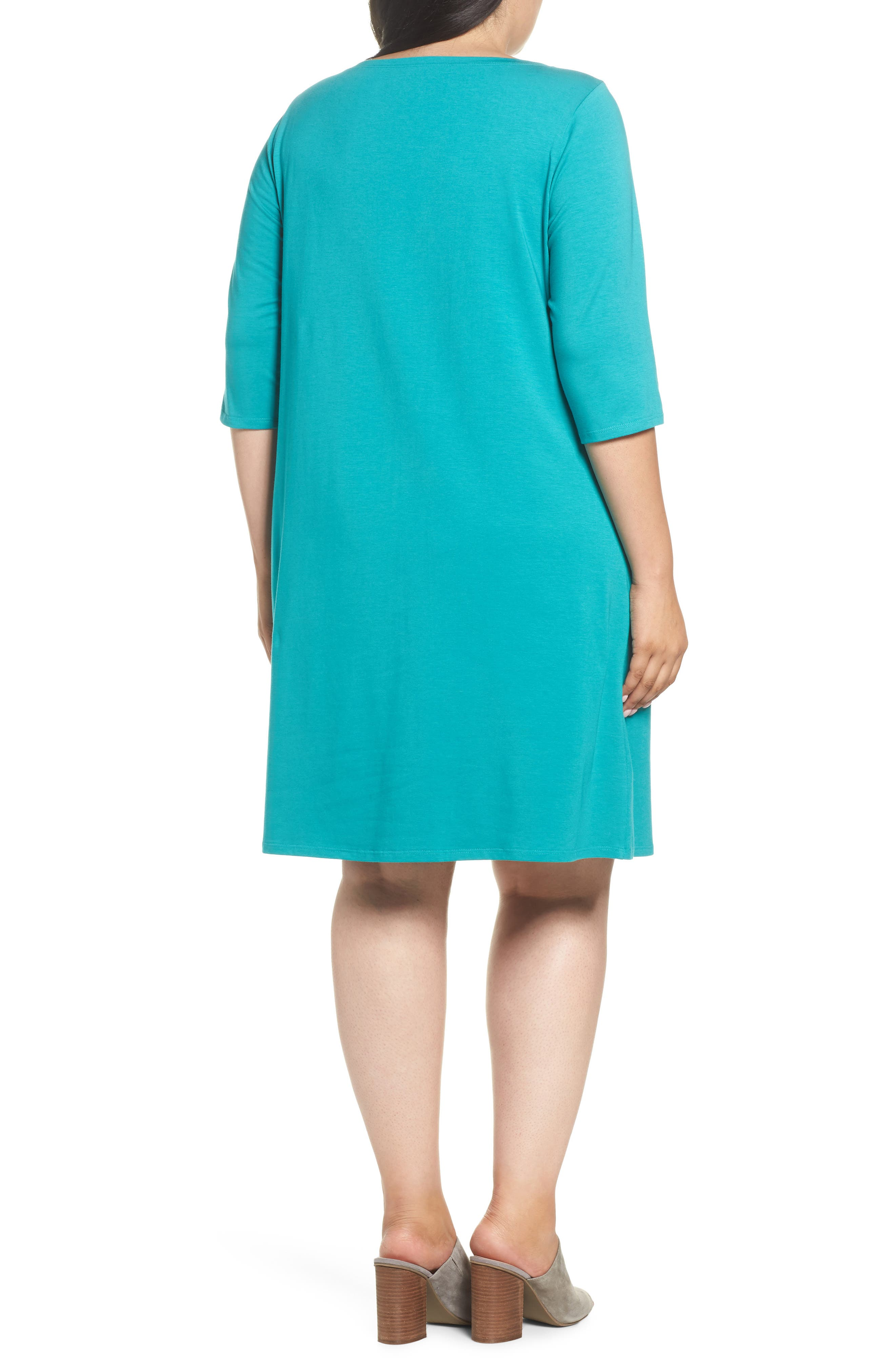 Stretch Organic Cotton Shift Dress,                             Alternate thumbnail 2, color,                             Turquoise