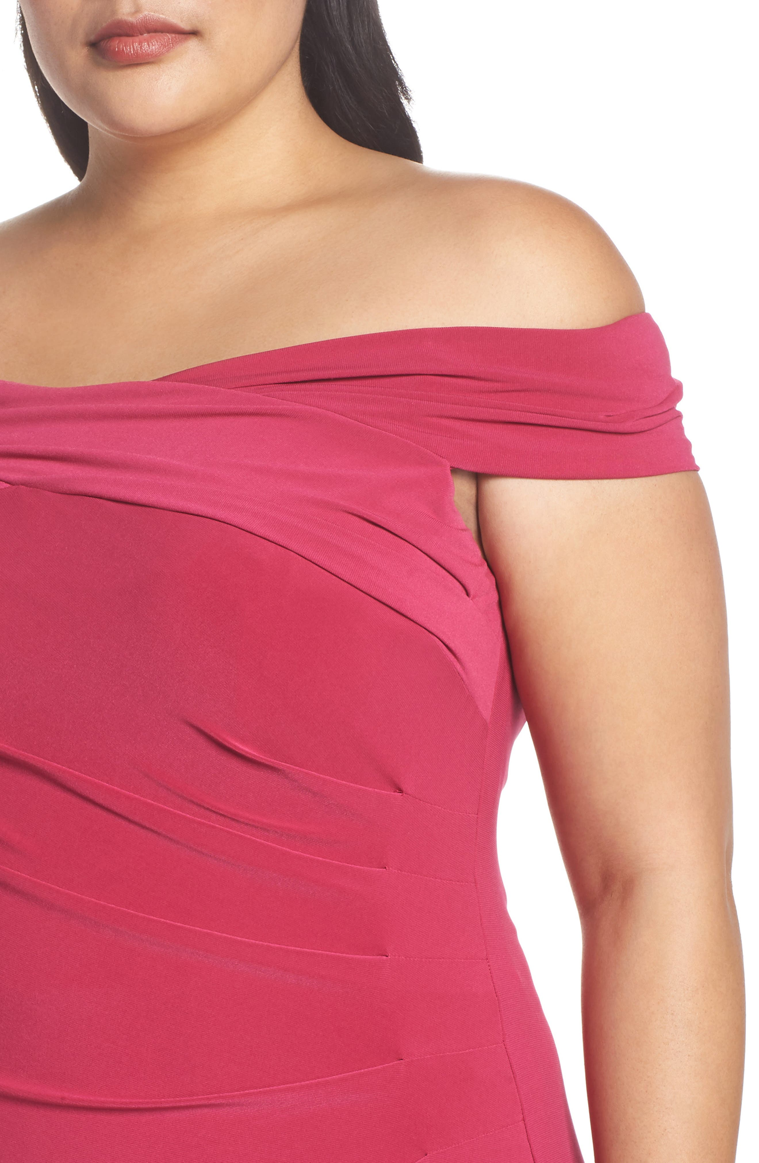 Off the Shoulder Jersey Dress,                             Alternate thumbnail 4, color,                             Bright Syrah