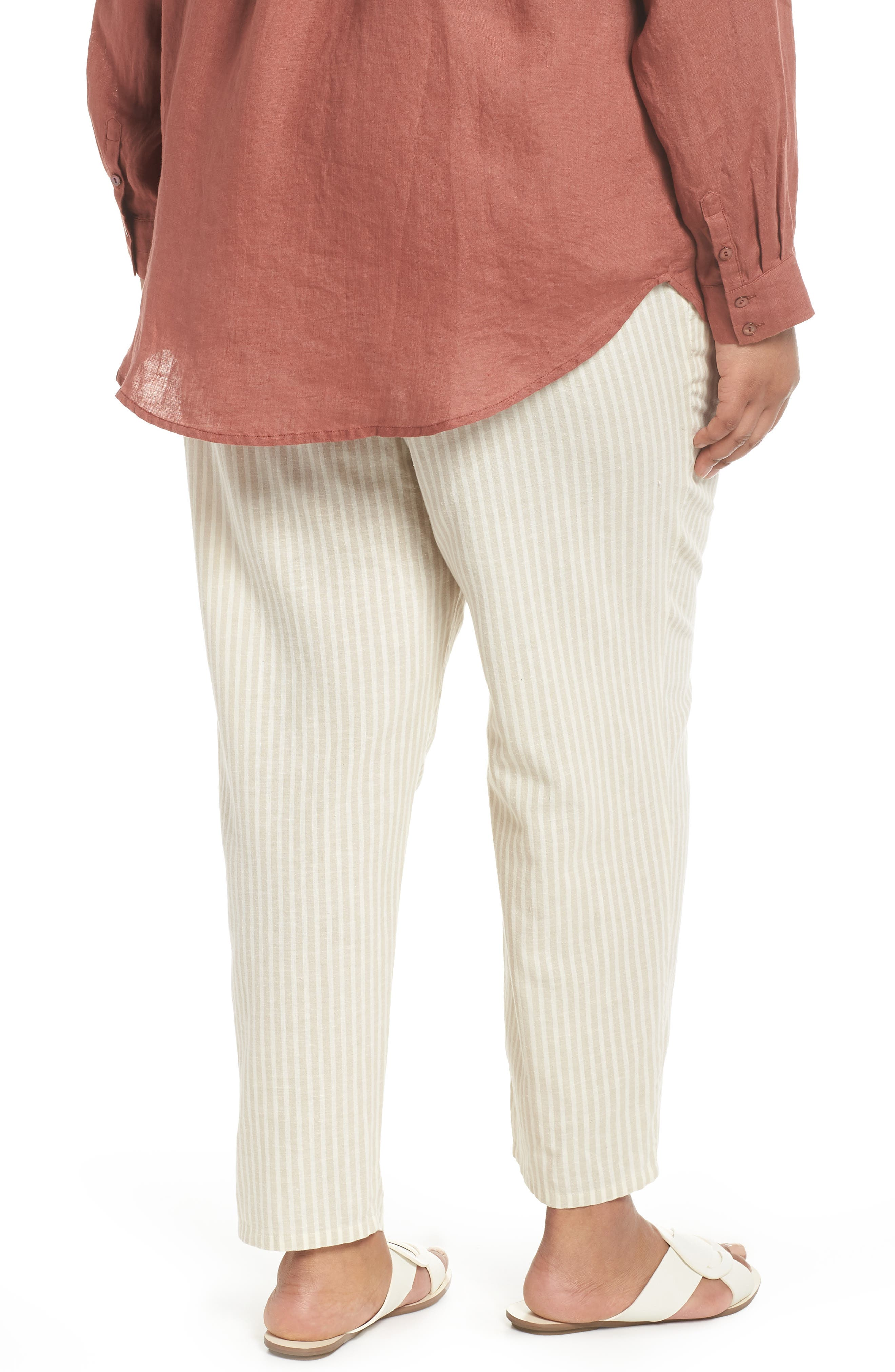 Stripe Ankle Hemp & Cotton Pants,                             Alternate thumbnail 2, color,                             Natural