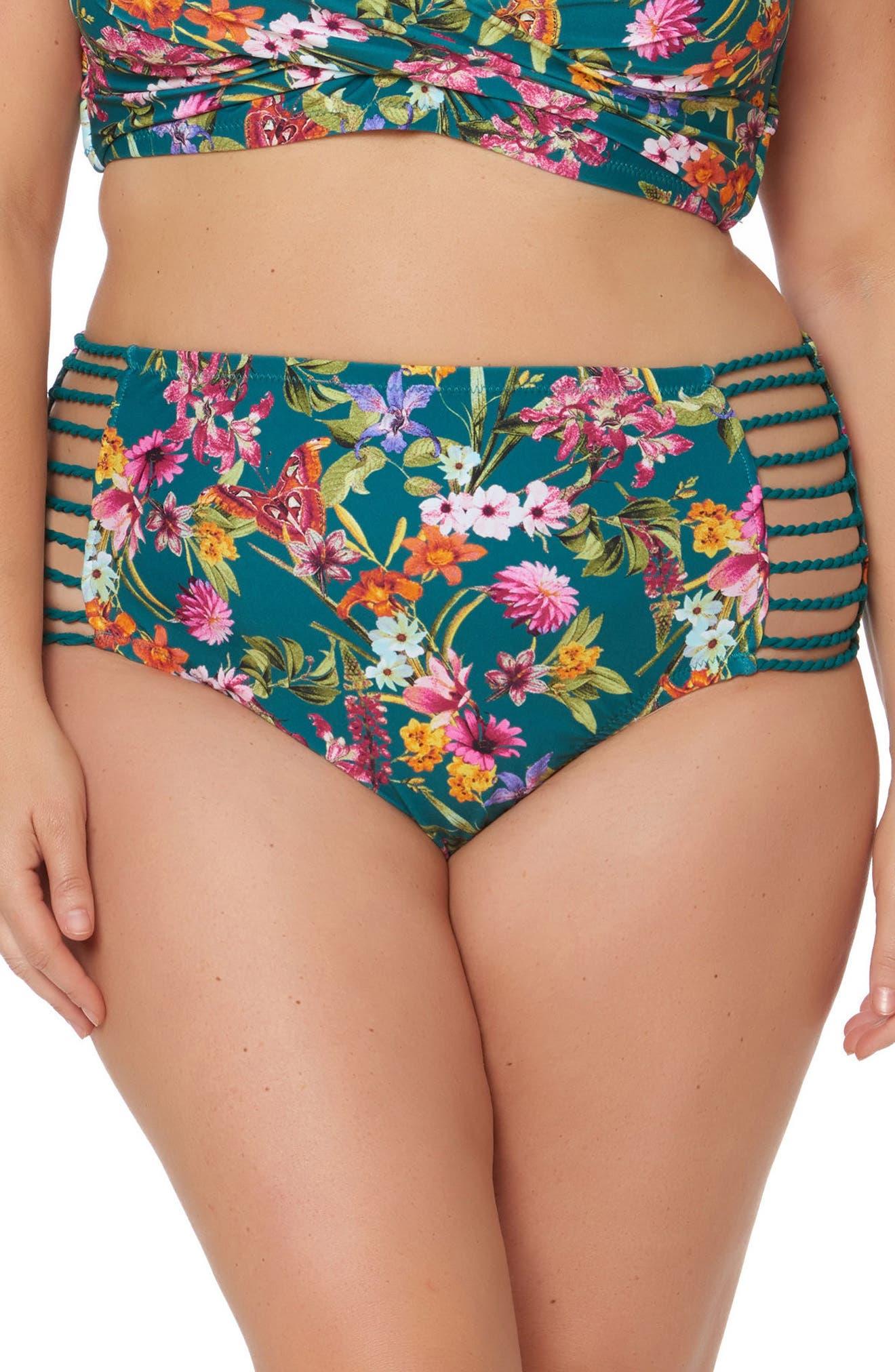 Floral Print Bikini Bottoms,                         Main,                         color, Pine