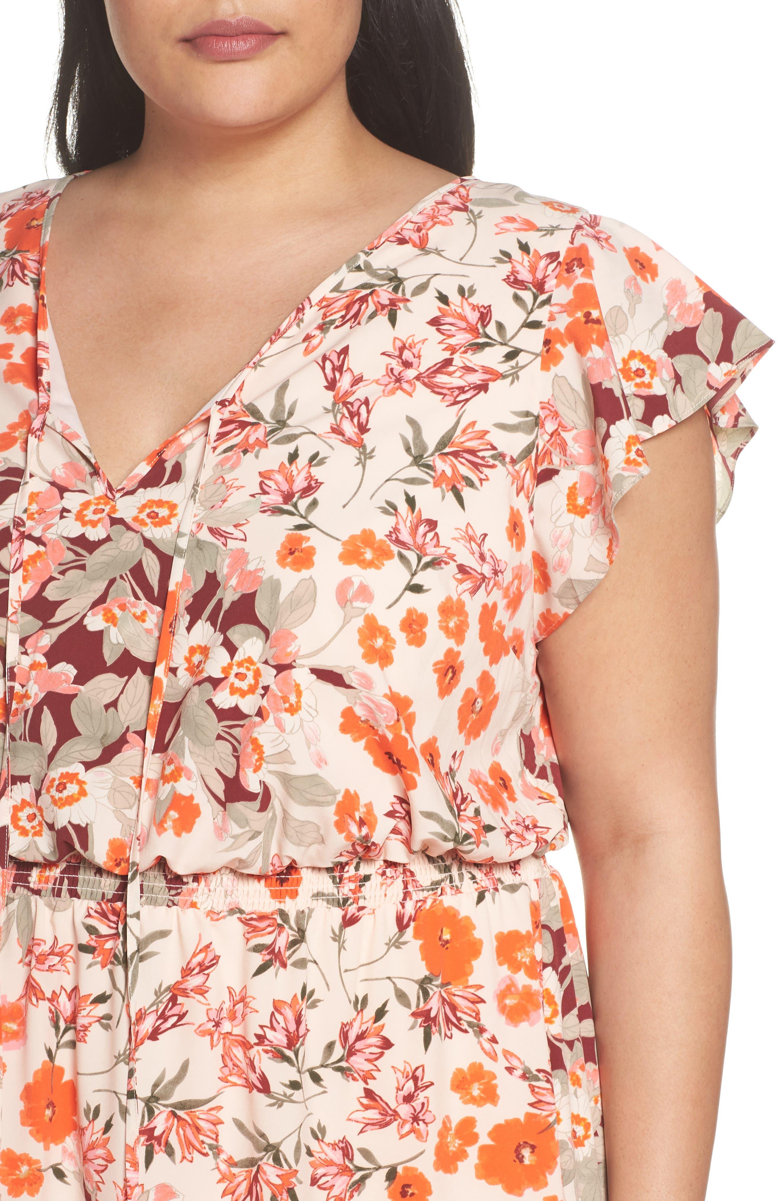 Floral Ruffle Sleeve Maxi Dress,                             Alternate thumbnail 4, color,                             Geranium Multi