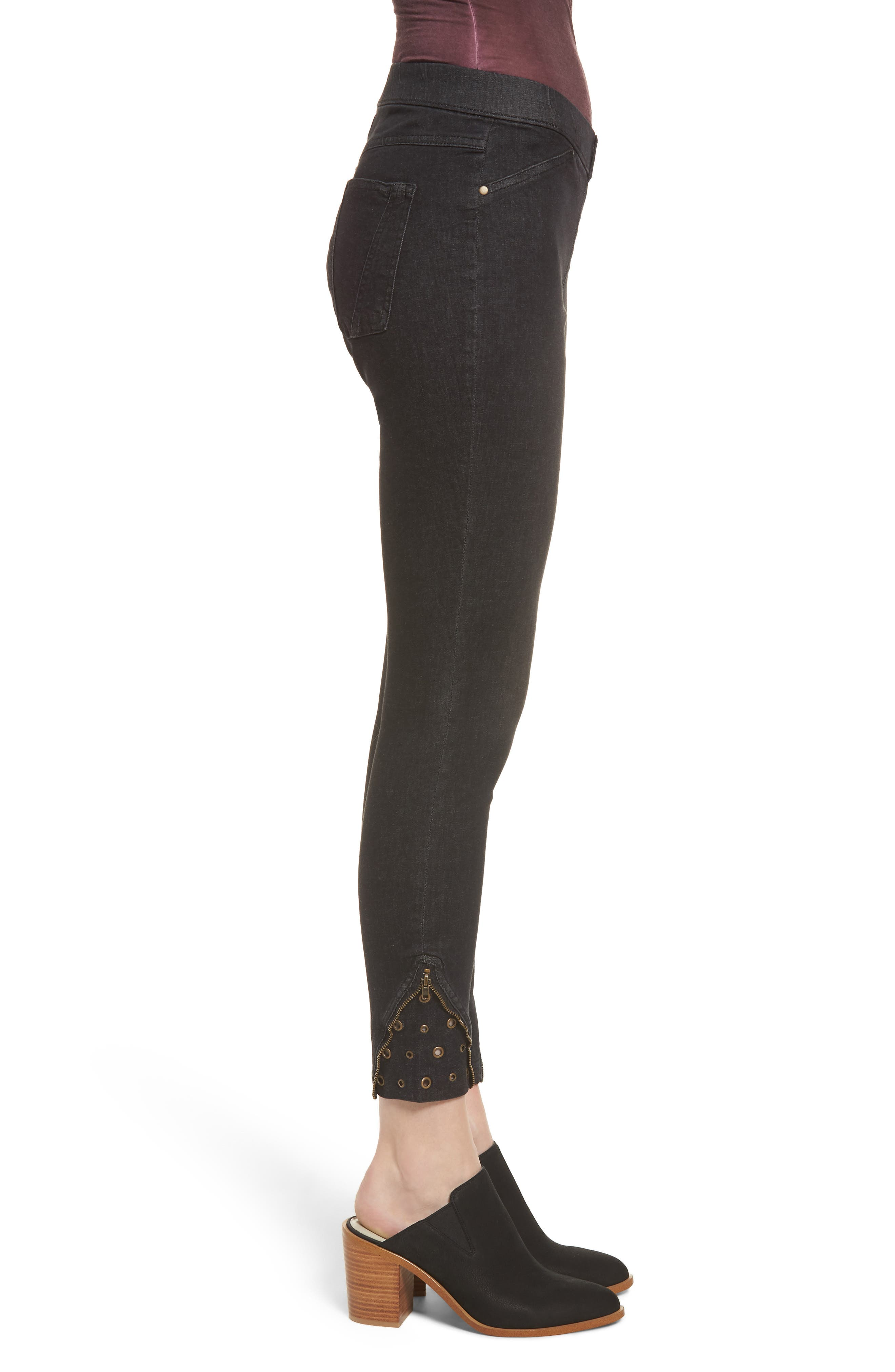 High Waist Embellished Denim Skimmer Leggings,                             Alternate thumbnail 3, color,                             Black Wash