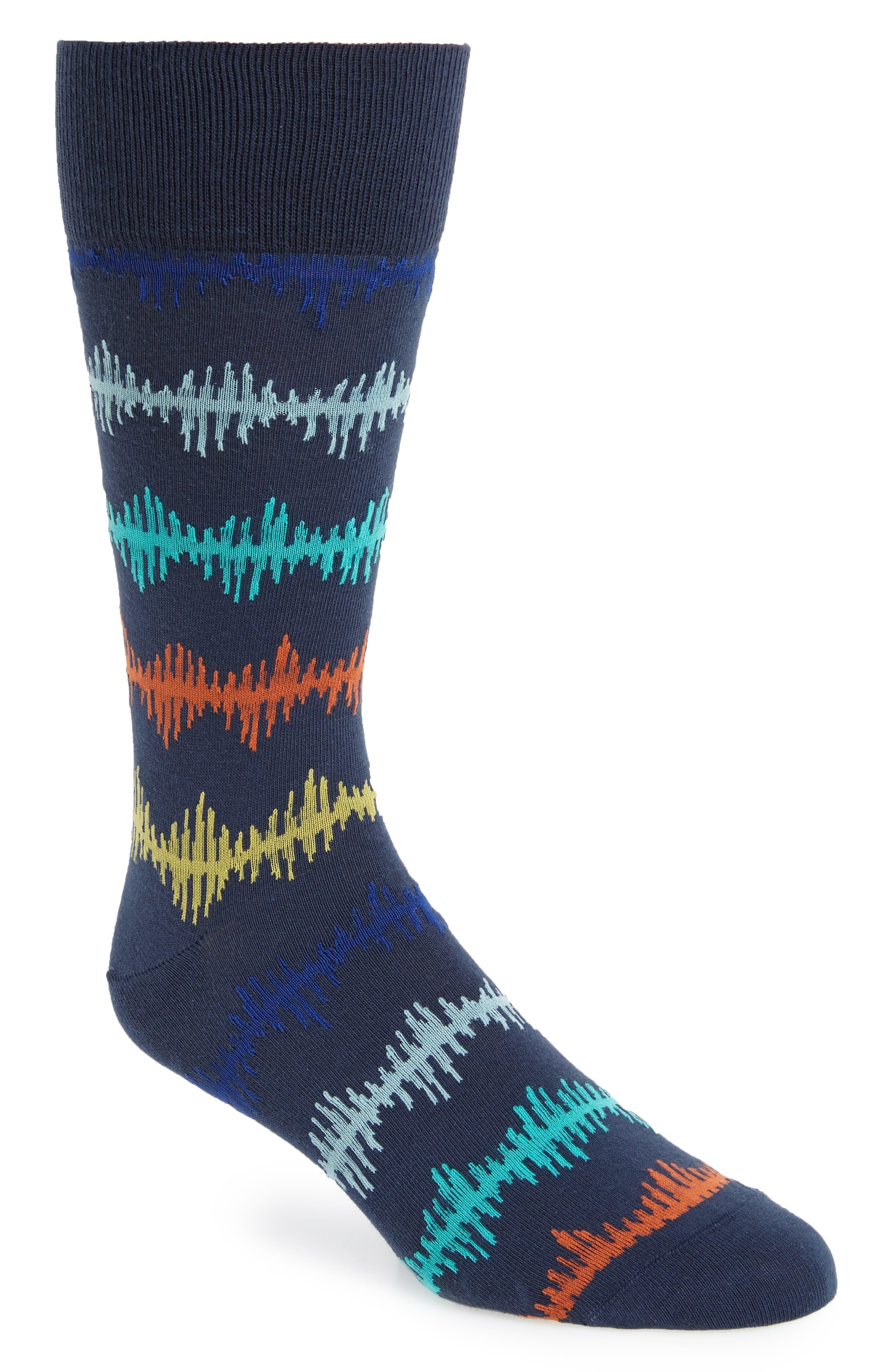 Pulse Wave Socks,                             Main thumbnail 1, color,                             Navy/ Orange