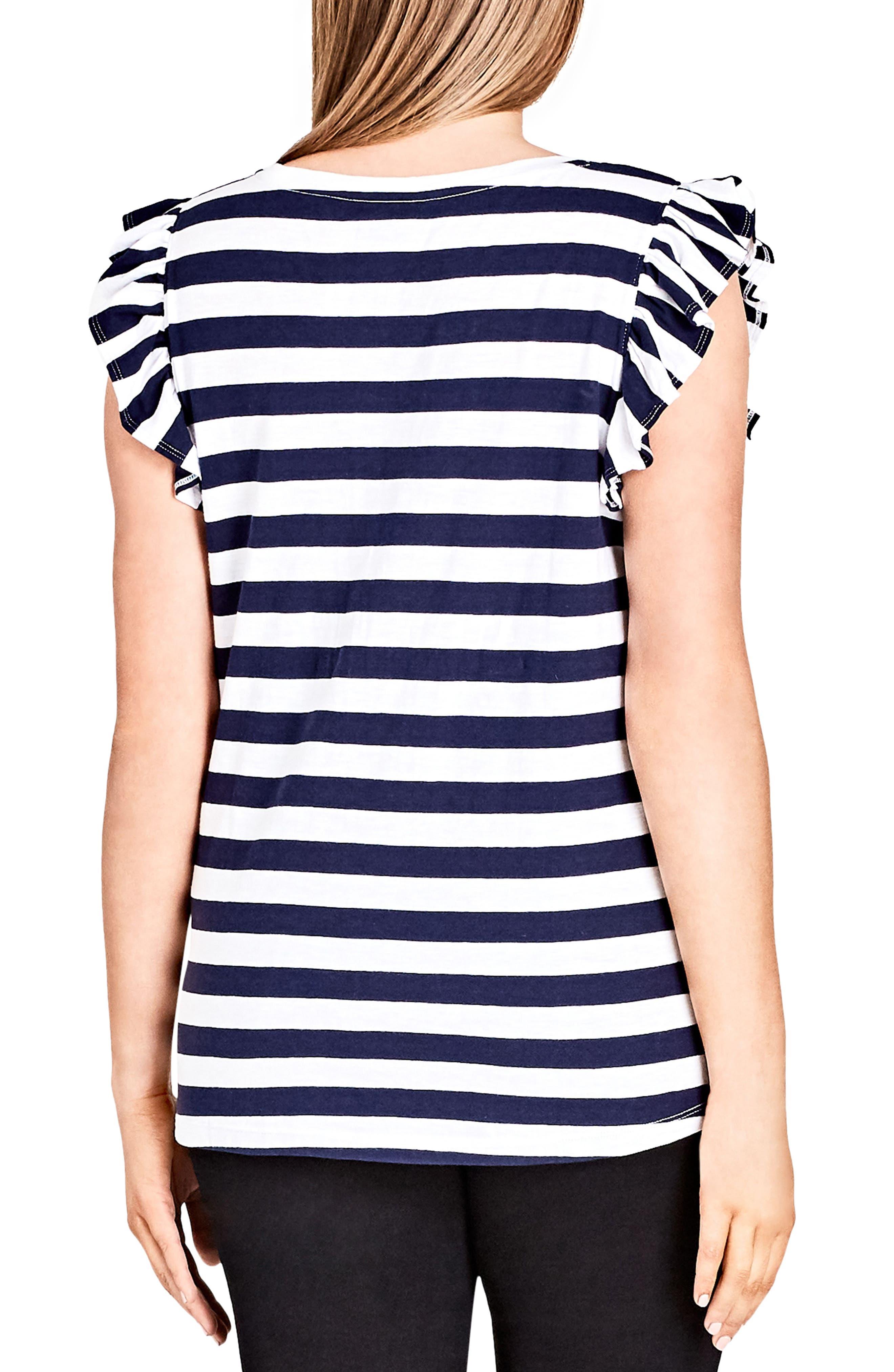 Stripe Frill Sleeve Knit Top,                             Alternate thumbnail 2, color,                             White Stripe