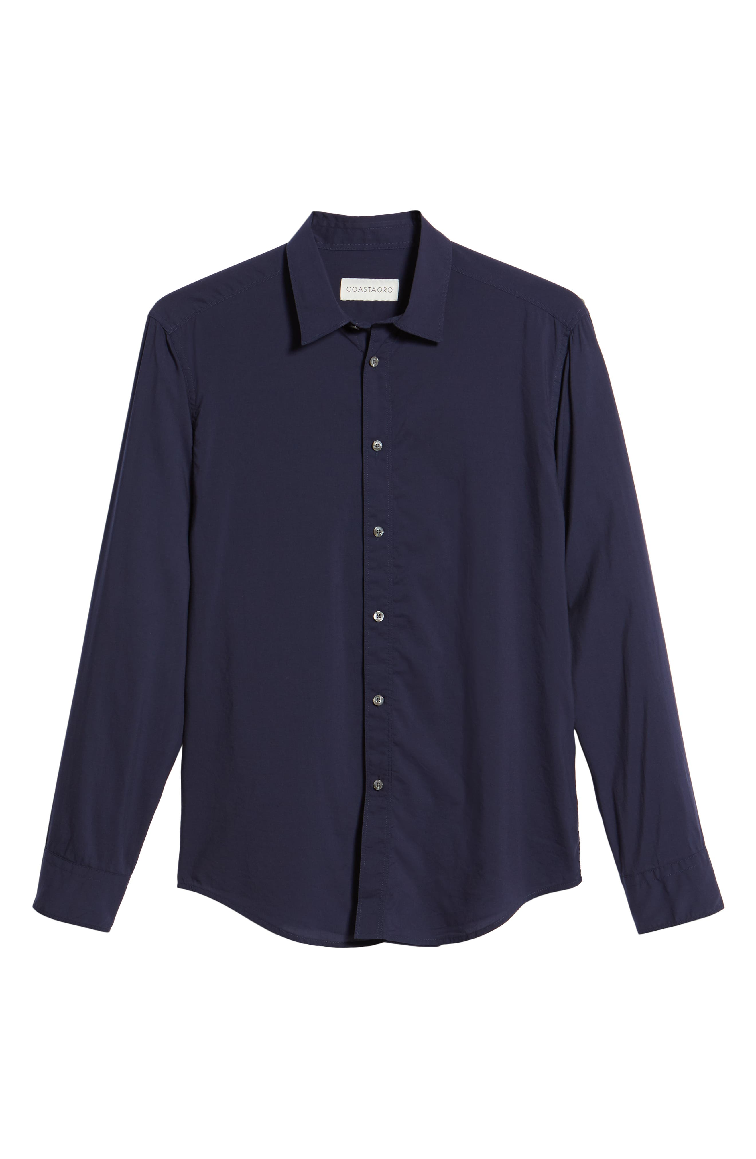 Pacifica Regular Fit Solid Sport Shirt,                             Alternate thumbnail 6, color,                             Navy