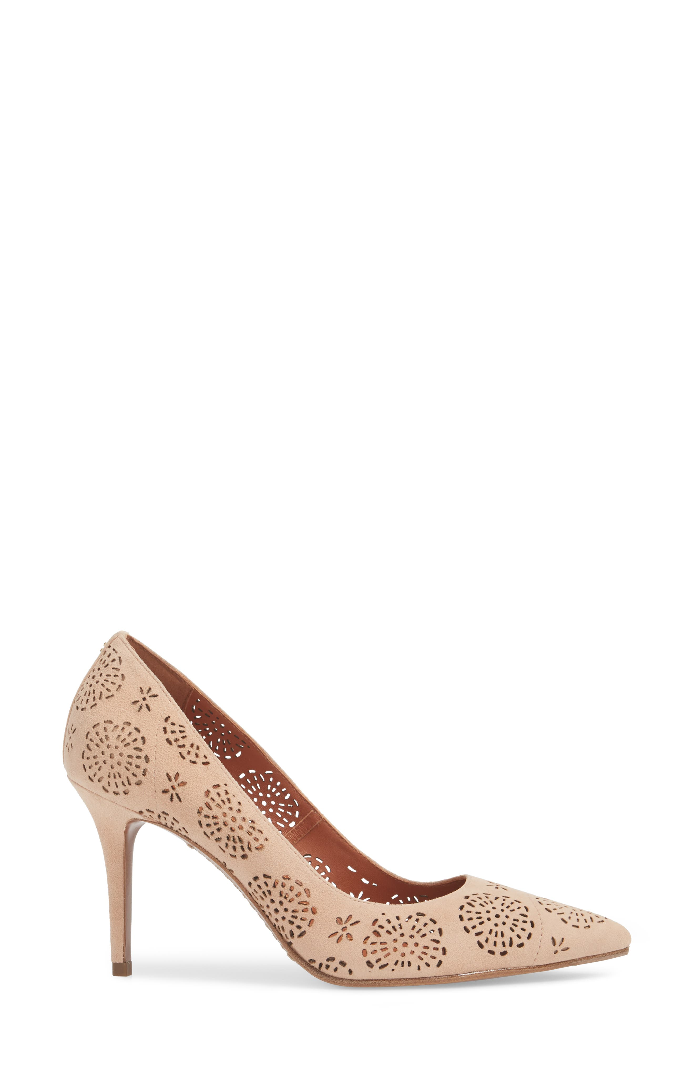 Waverly Tea Rose Perforated Pump,                             Alternate thumbnail 3, color,                             Beachwood Leather