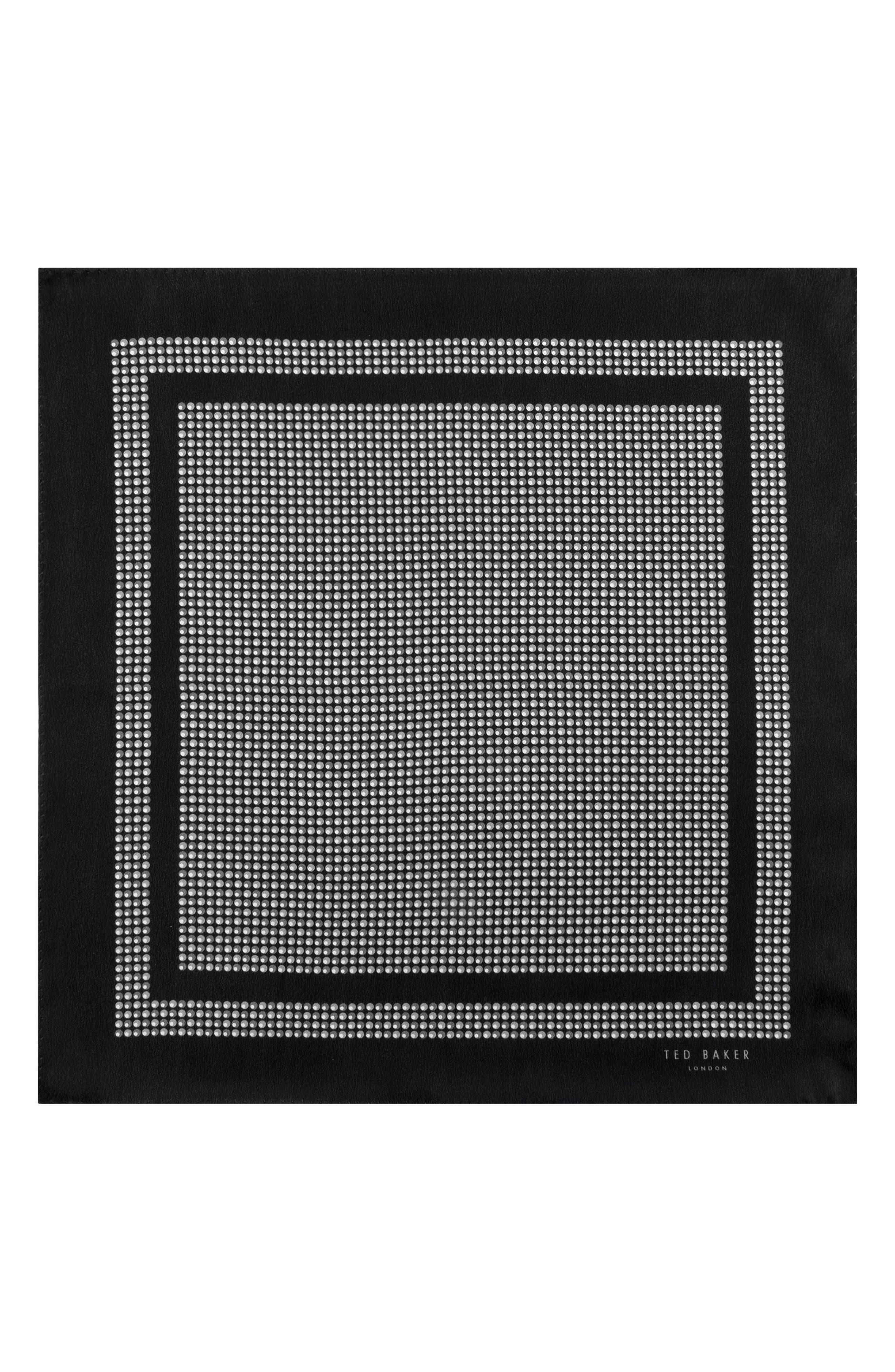 Micro Dot Silk Pocket Square,                             Alternate thumbnail 2, color,                             Gray