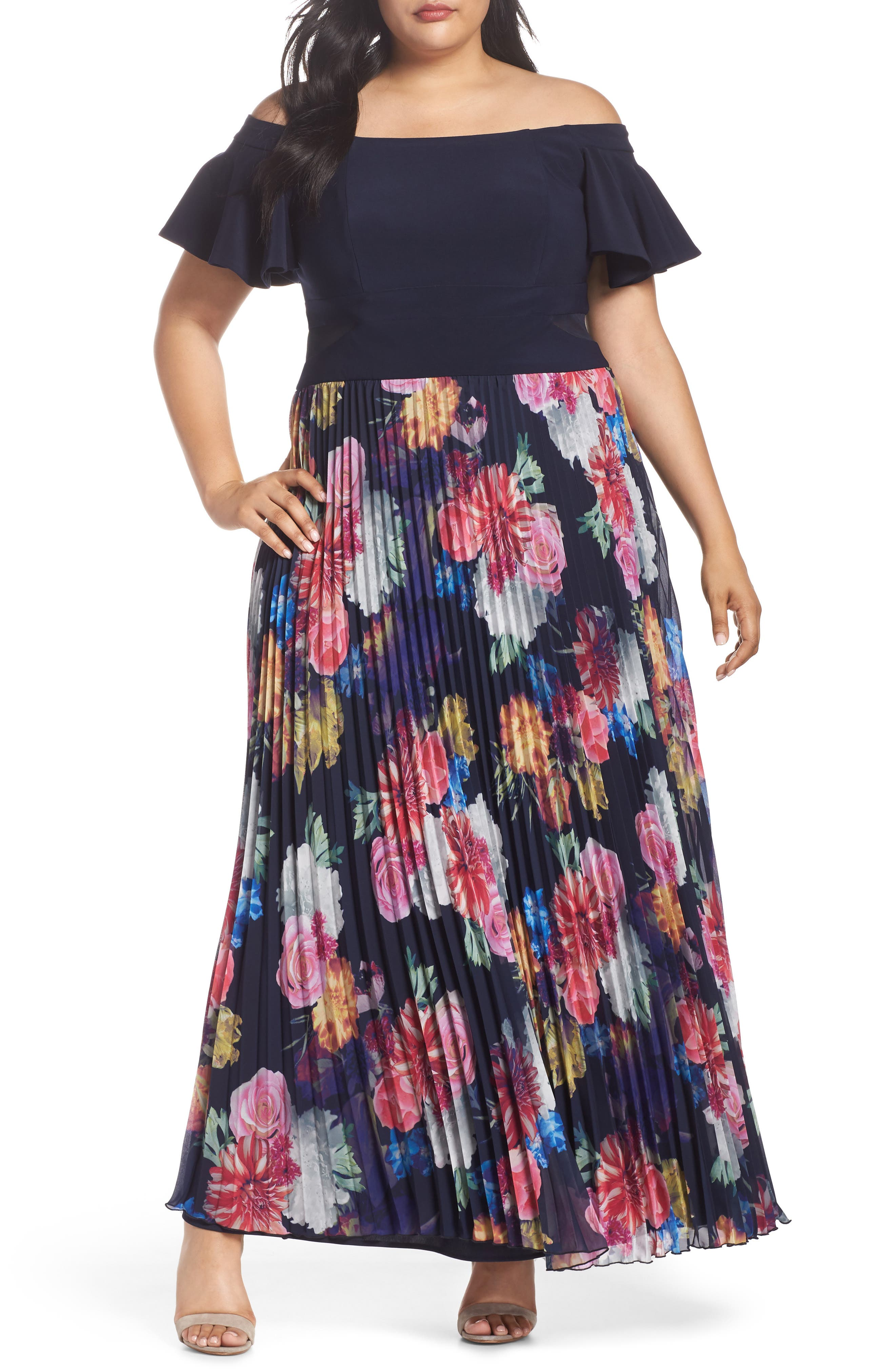 Ruffle Sleeve Off The Shoulder Pleated Maxi Dress,                             Main thumbnail 1, color,                             Navy/ Pink