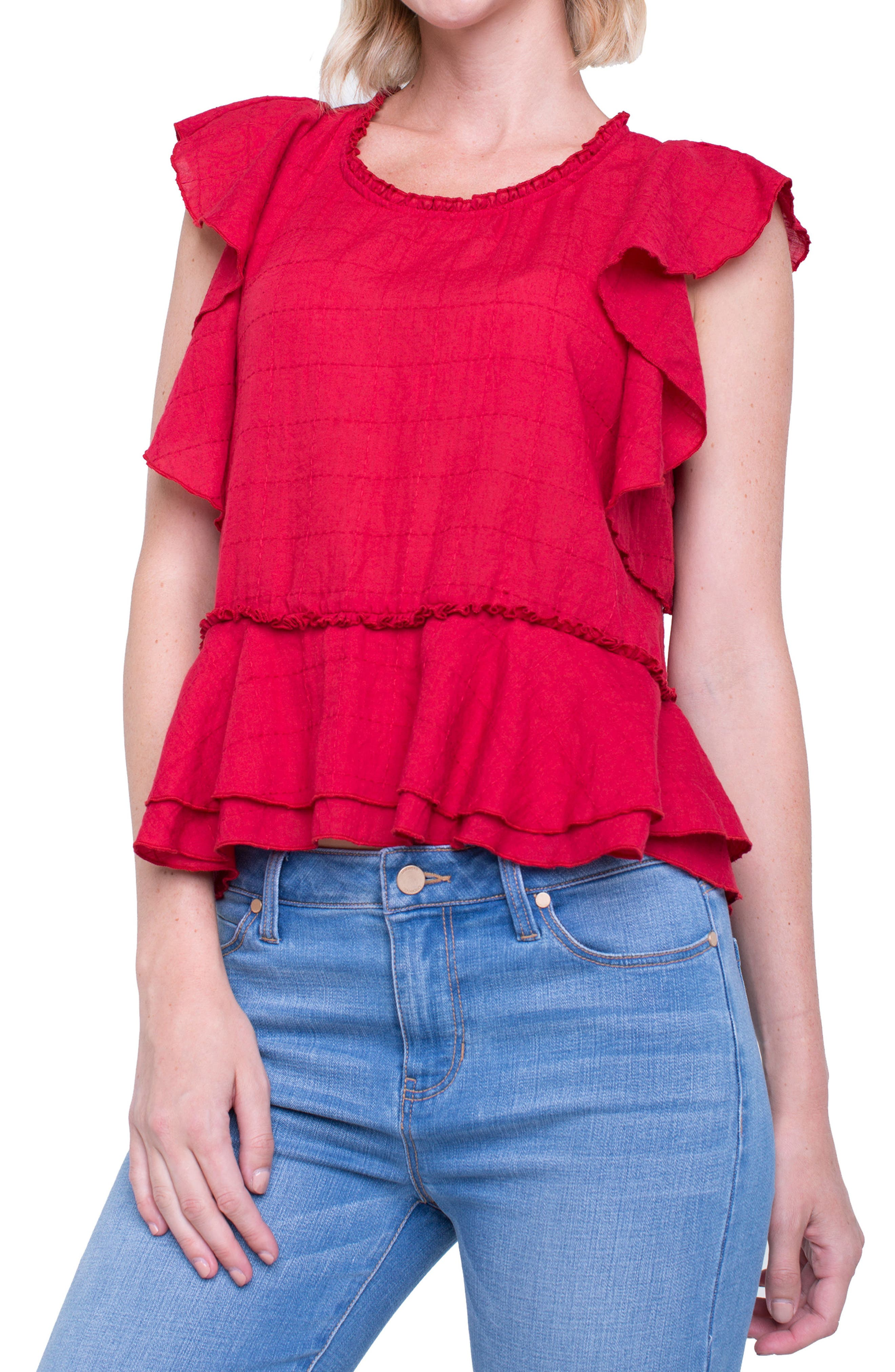 Liverpool Jeans Company Ruffle Cotton Blend Top