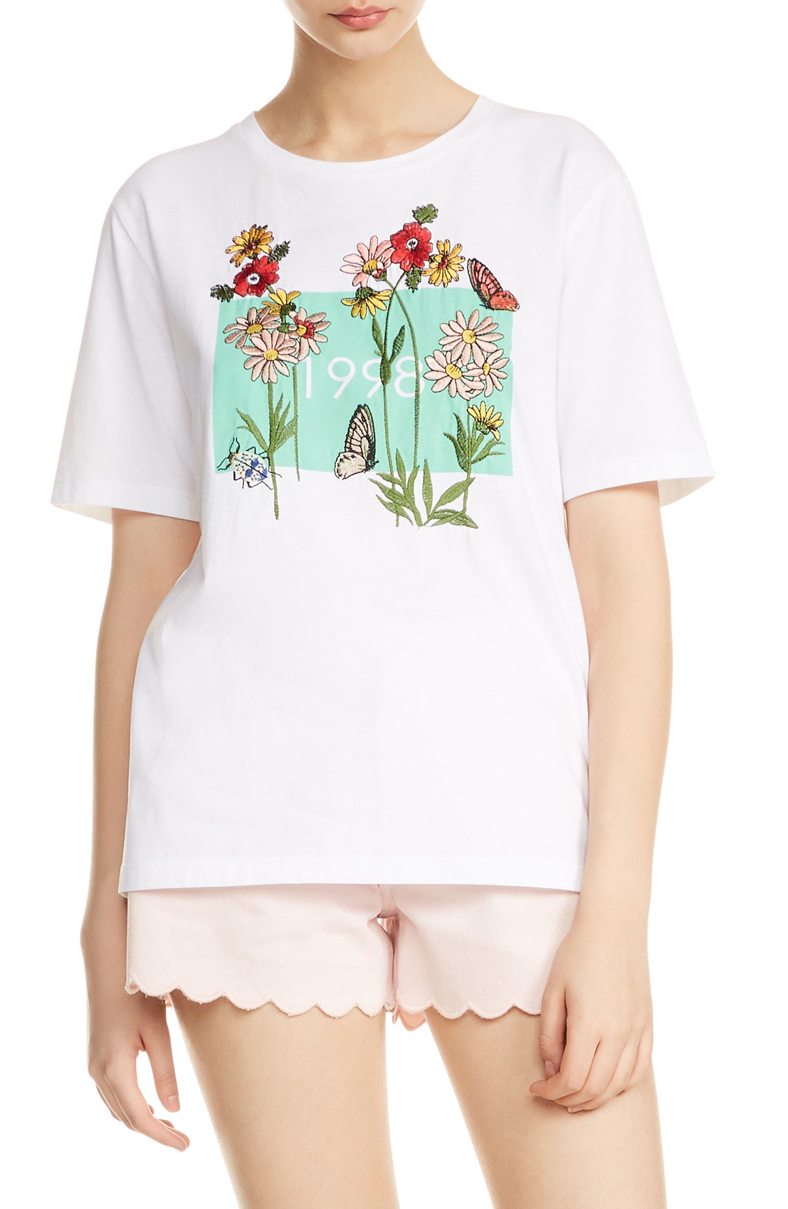 Tisha Embroidered Tee,                         Main,                         color, Blanc