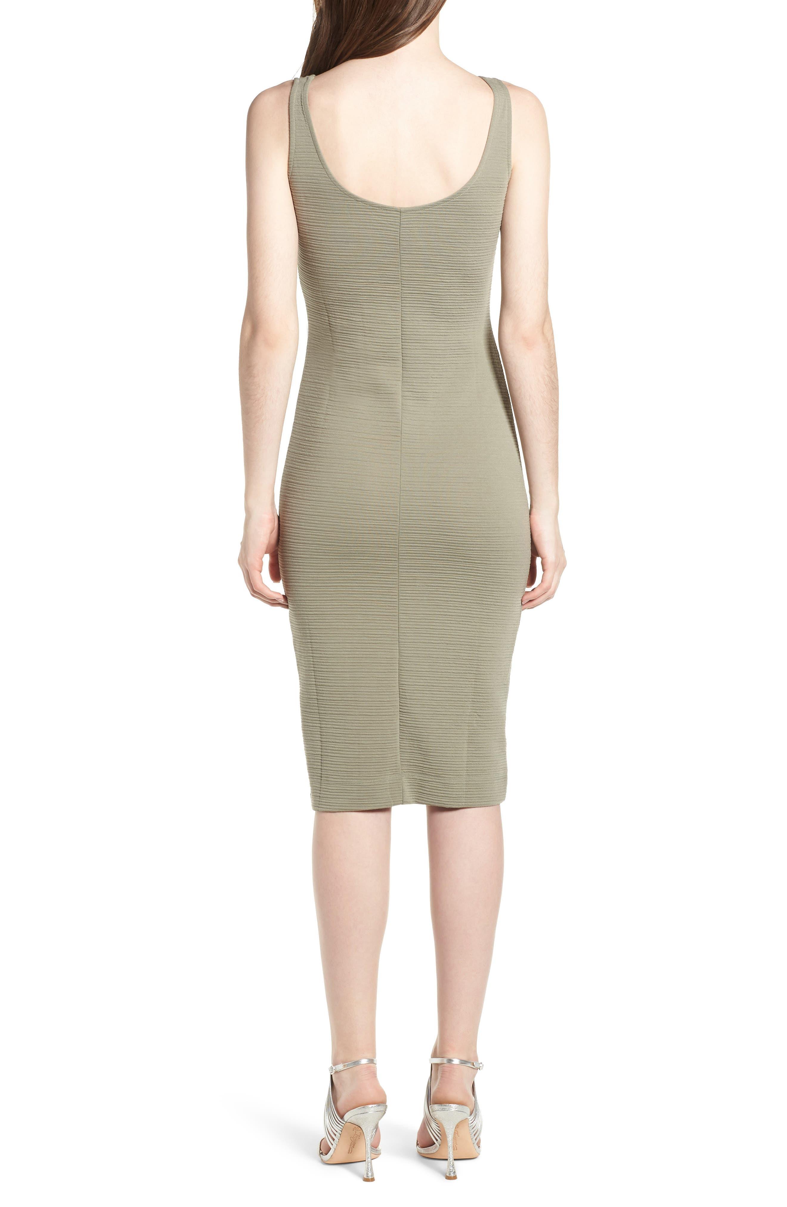 Underbust Rib Body-Con Dress,                             Alternate thumbnail 2, color,                             Olive
