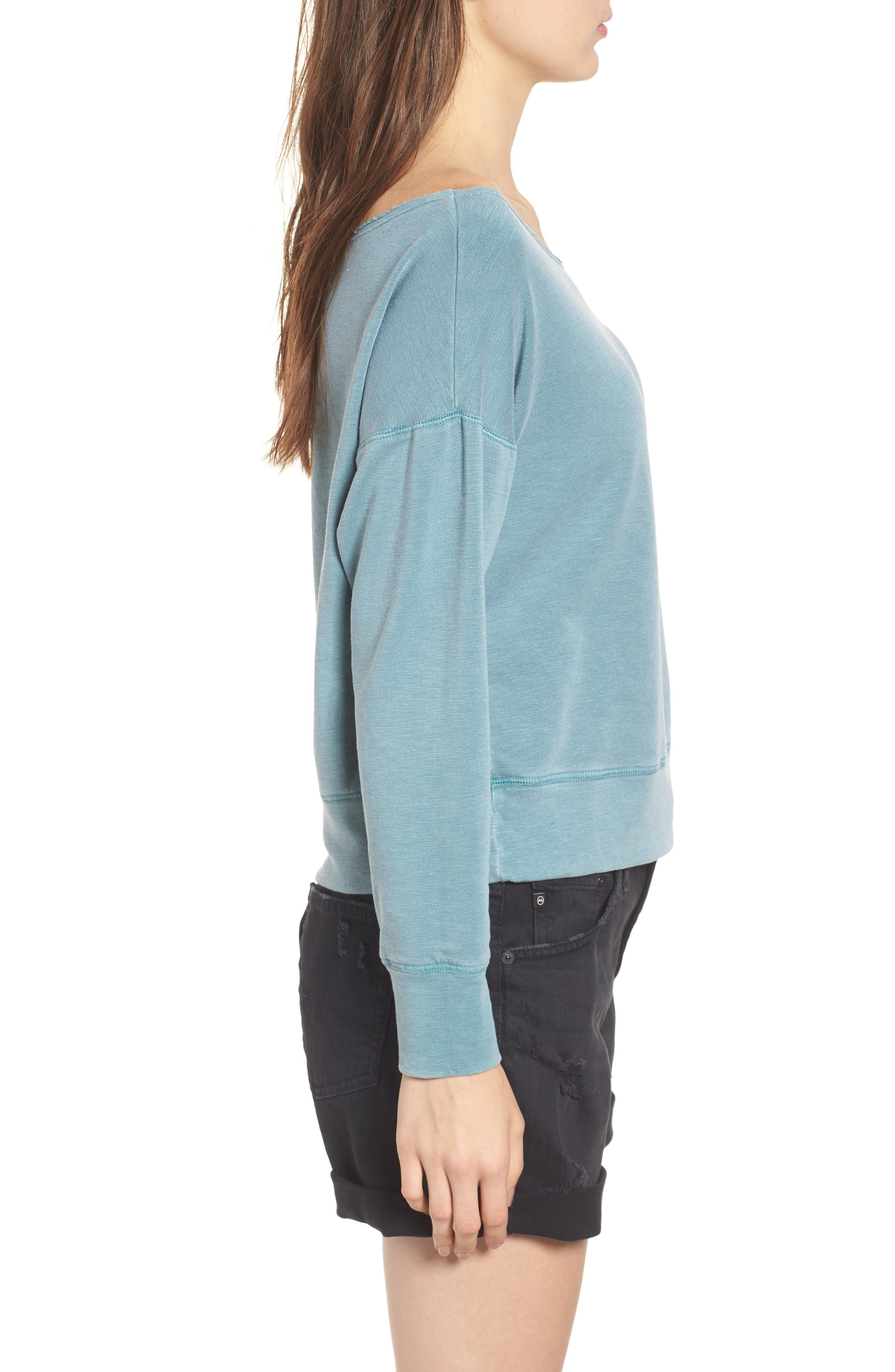 Off the Shoulder Sweatshirt,                             Alternate thumbnail 3, color,                             Pigment Basil