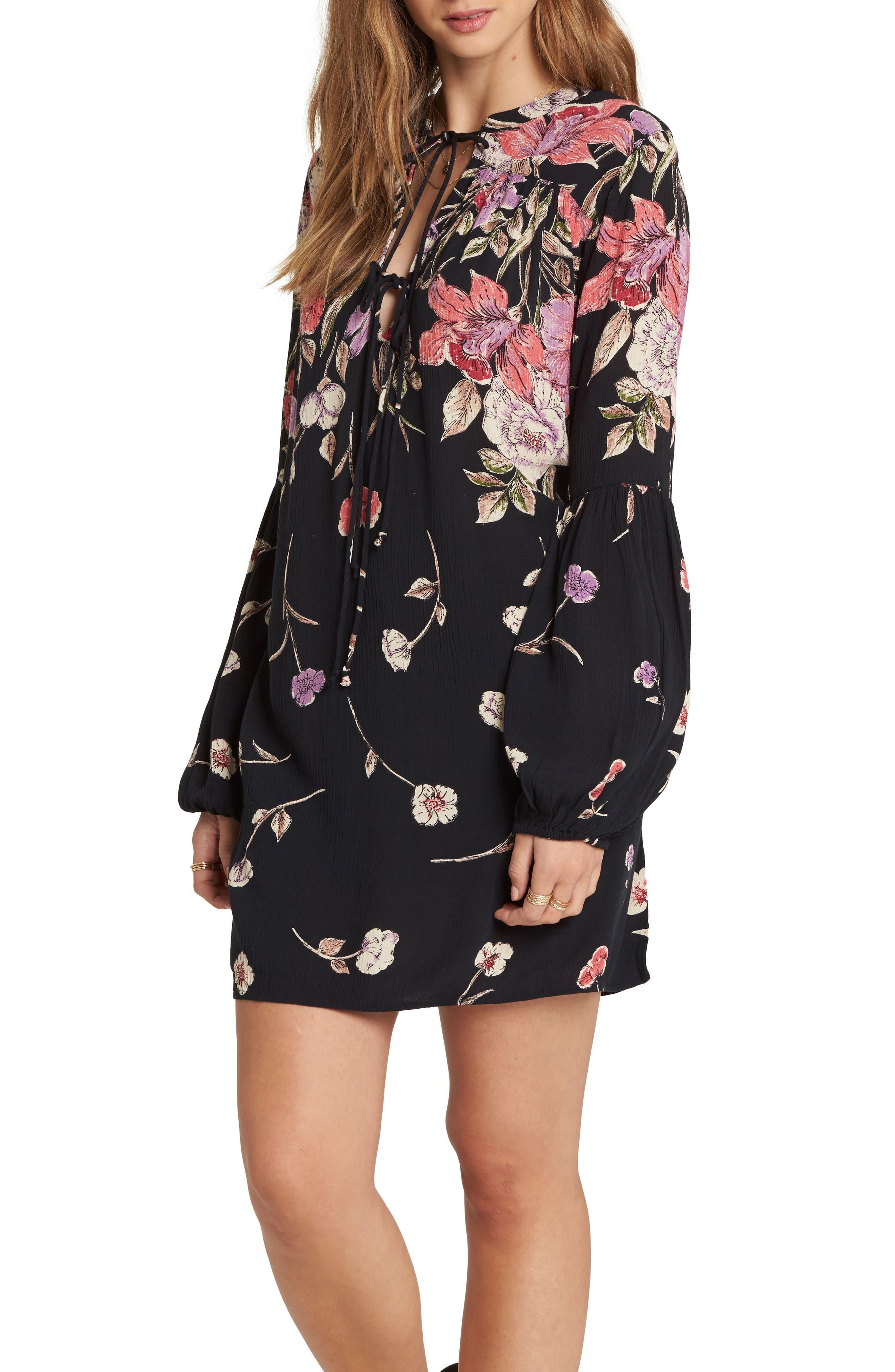 Pretty Please Smocked Sundress,                             Alternate thumbnail 3, color,                             Black Floral