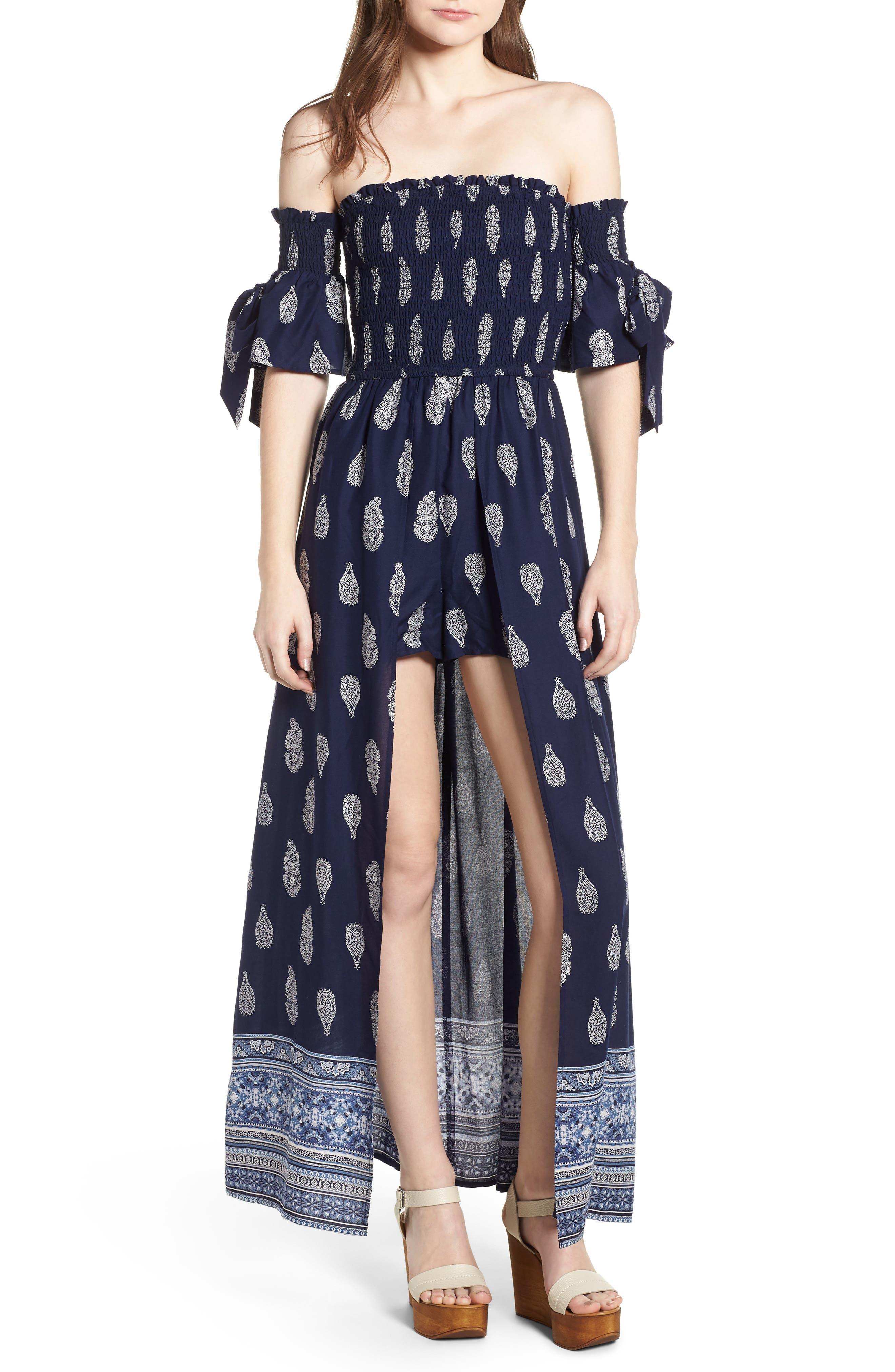 Summer Bloom Smocked Maxi Romper,                         Main,                         color, Navy/ White