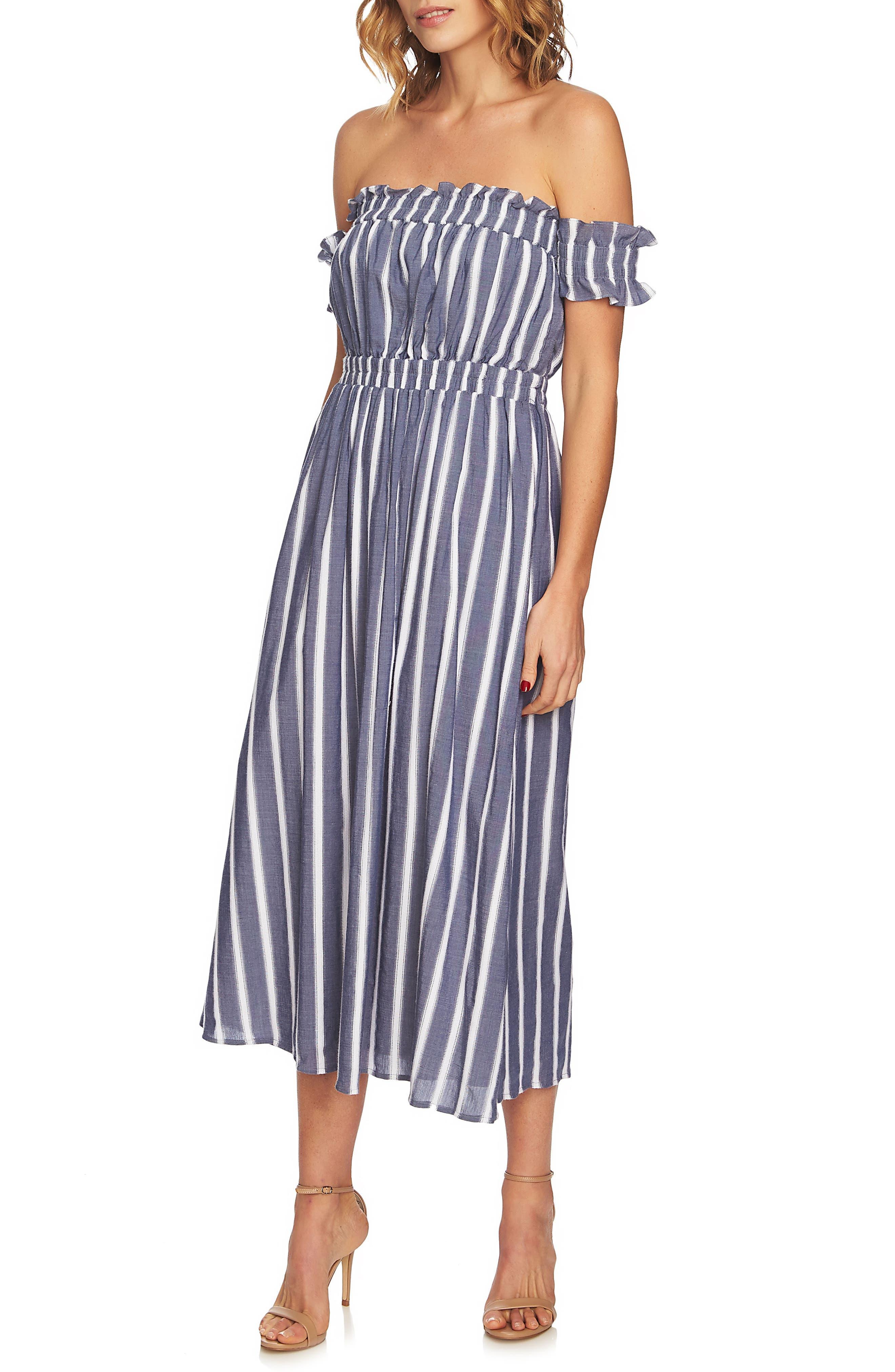 Billie Stripe Off the Shoulder Midi Dress,                             Main thumbnail 1, color,                             Rainfall