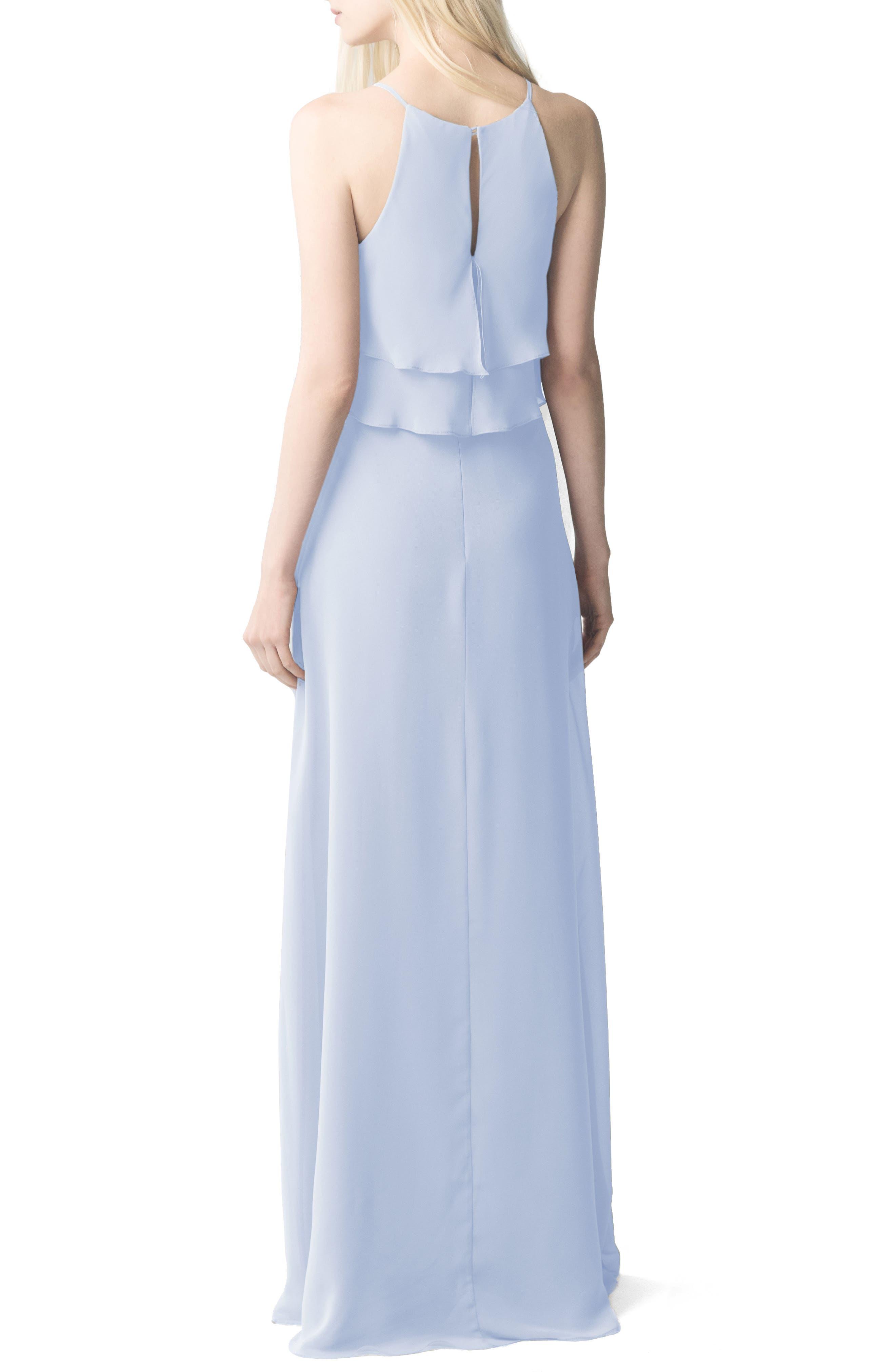 Charlie Ruffle Chiffon Gown,                             Alternate thumbnail 2, color,                             Whisper Blue