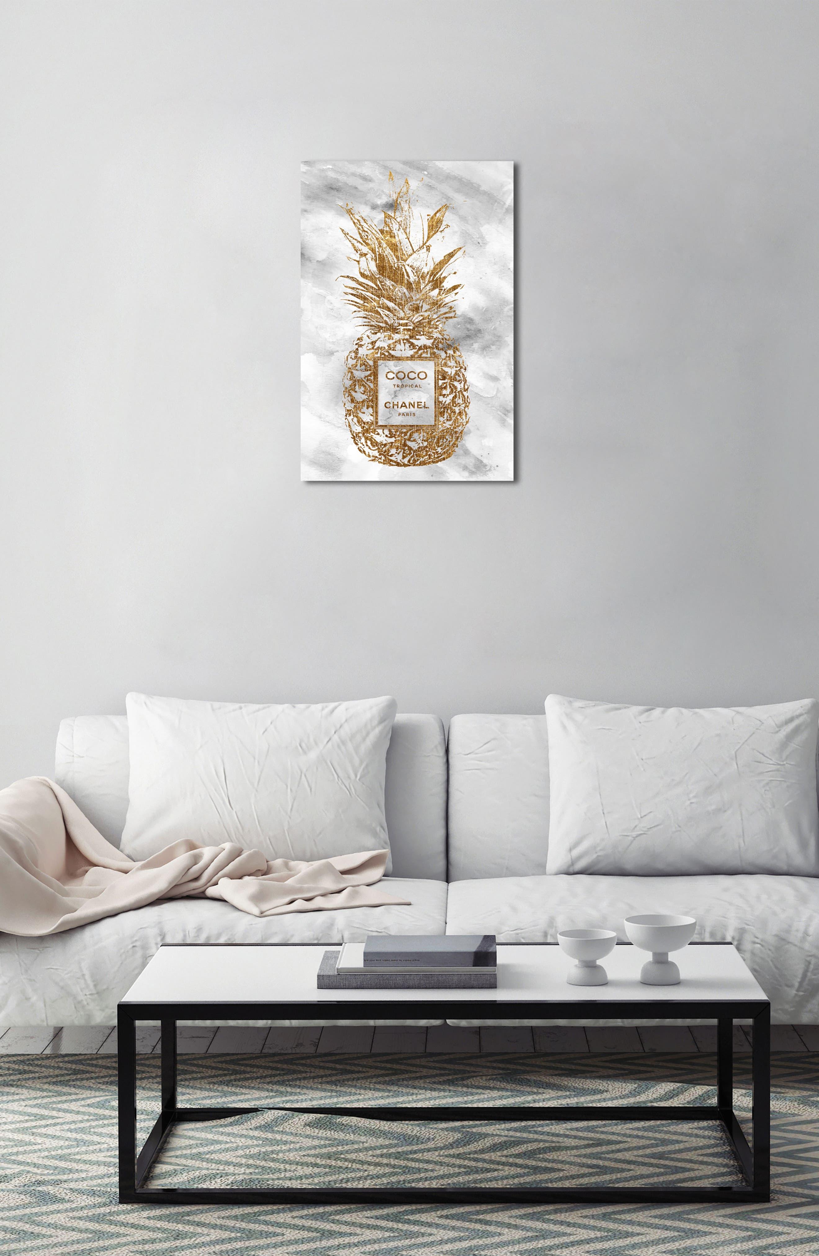Tropical Parfum Canvas Wall Art,                             Alternate thumbnail 4, color,                             Gold