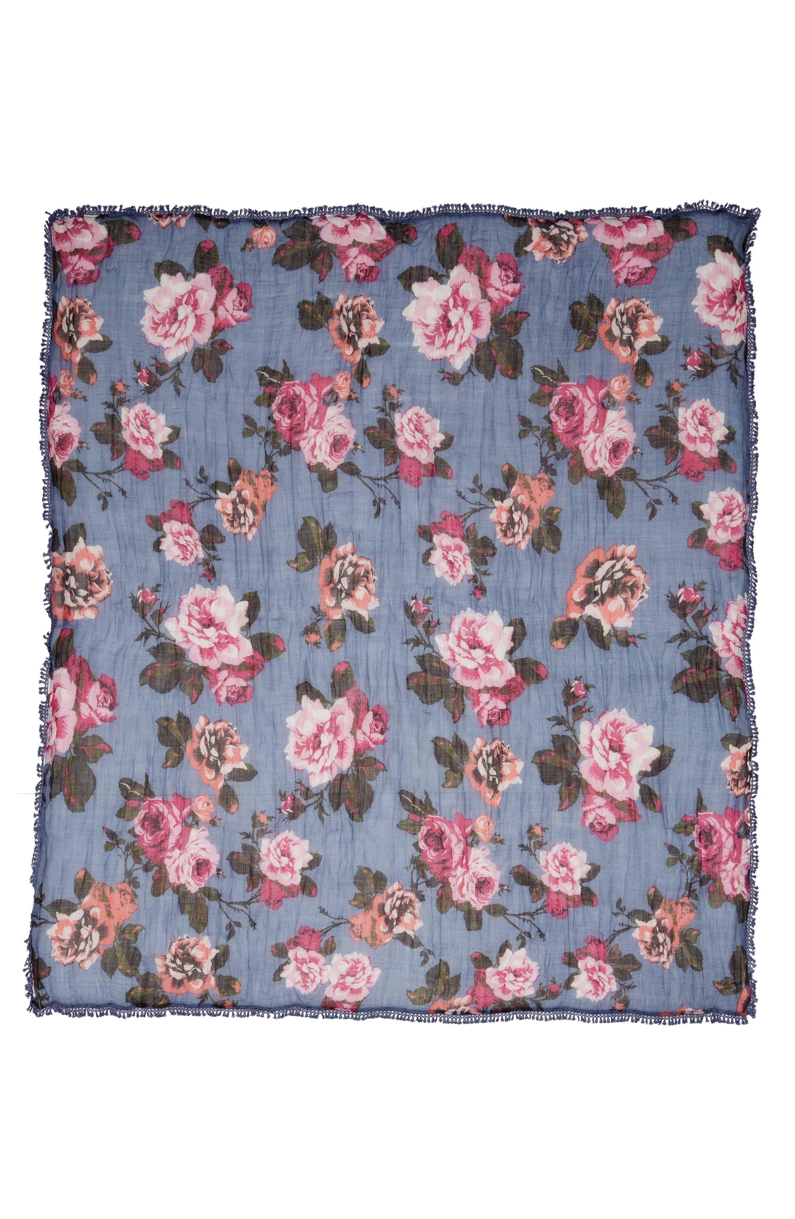 Floral Fringe Scarf,                             Alternate thumbnail 2, color,                             Blue Moody Rose