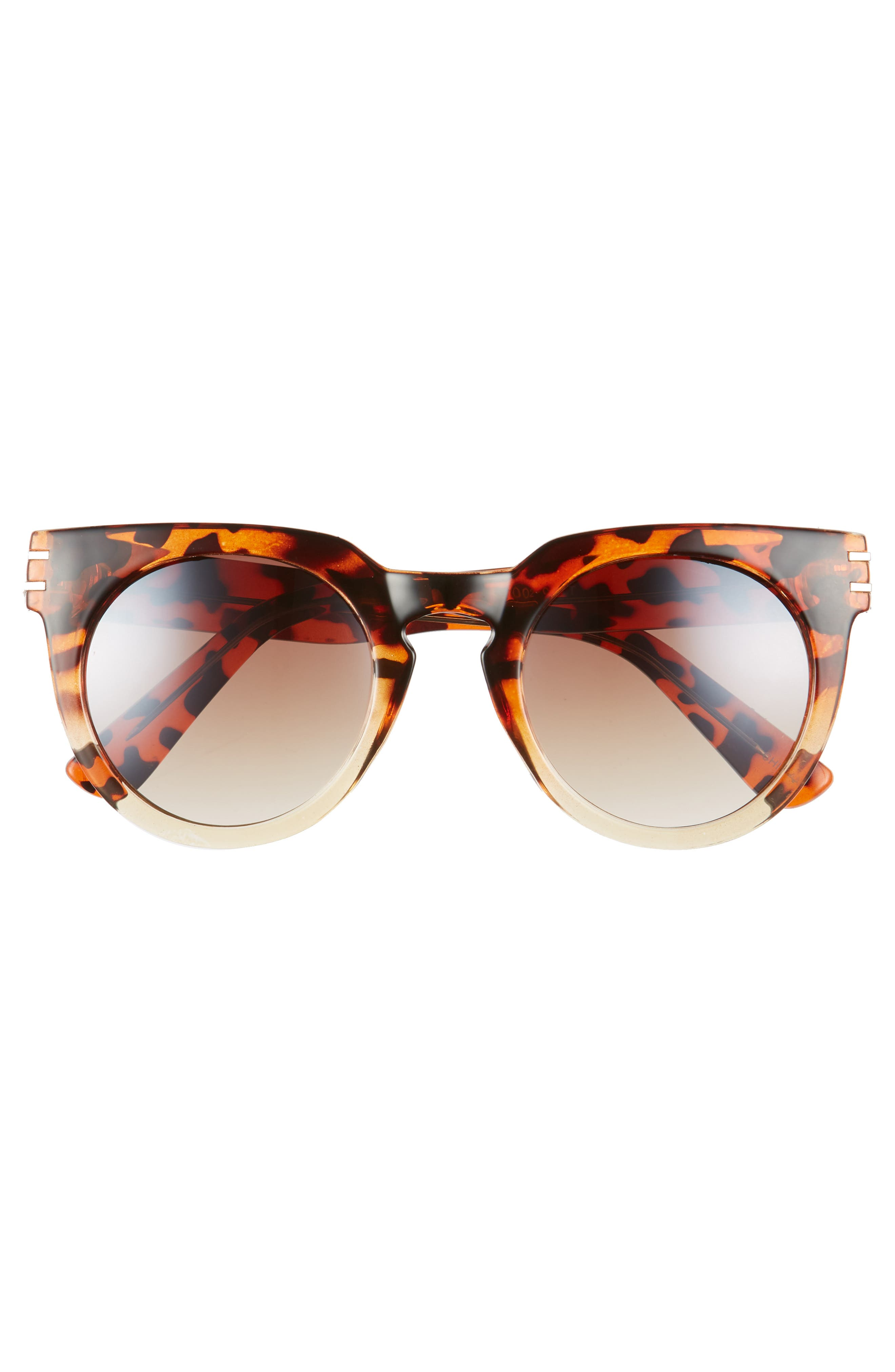 50mm Round Sunglasses,                             Alternate thumbnail 3, color,                             Leopard/ Brown