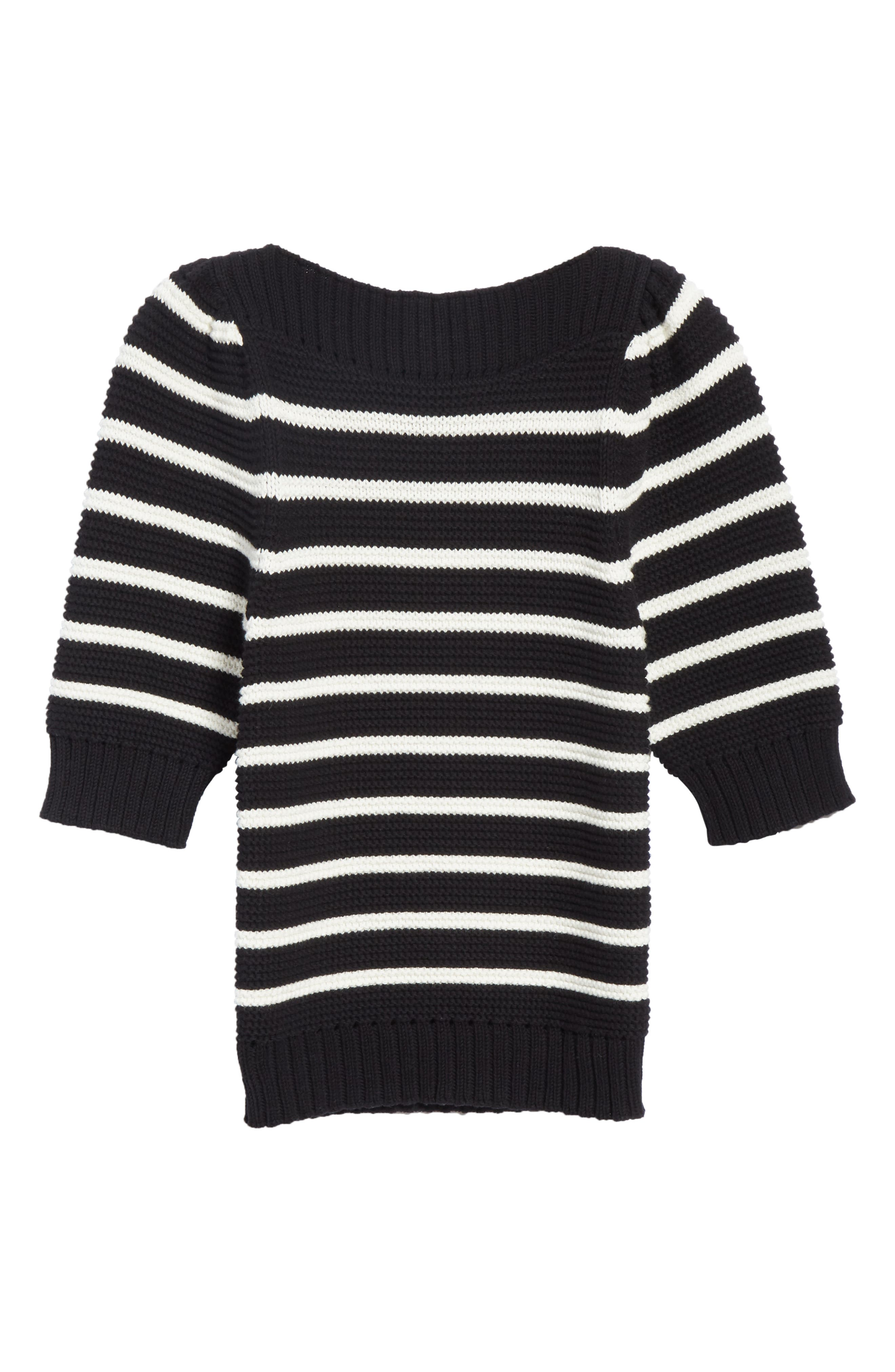 Puff Sleeve Stripe Sweater,                             Alternate thumbnail 6, color,                             Black Combo