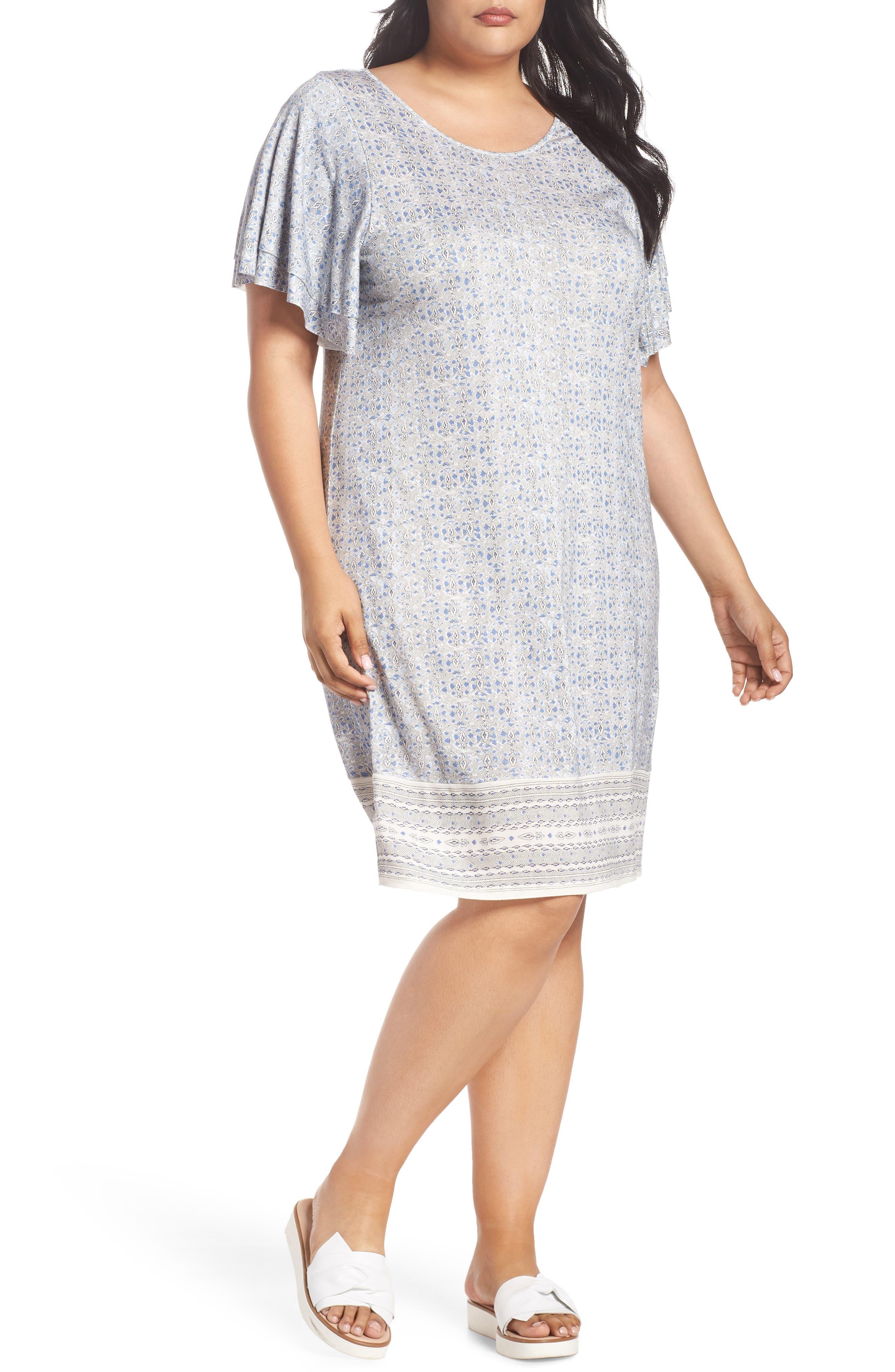 Ruffle Sleeve Print Shift Dress,                             Alternate thumbnail 7, color,                             Blue Multi