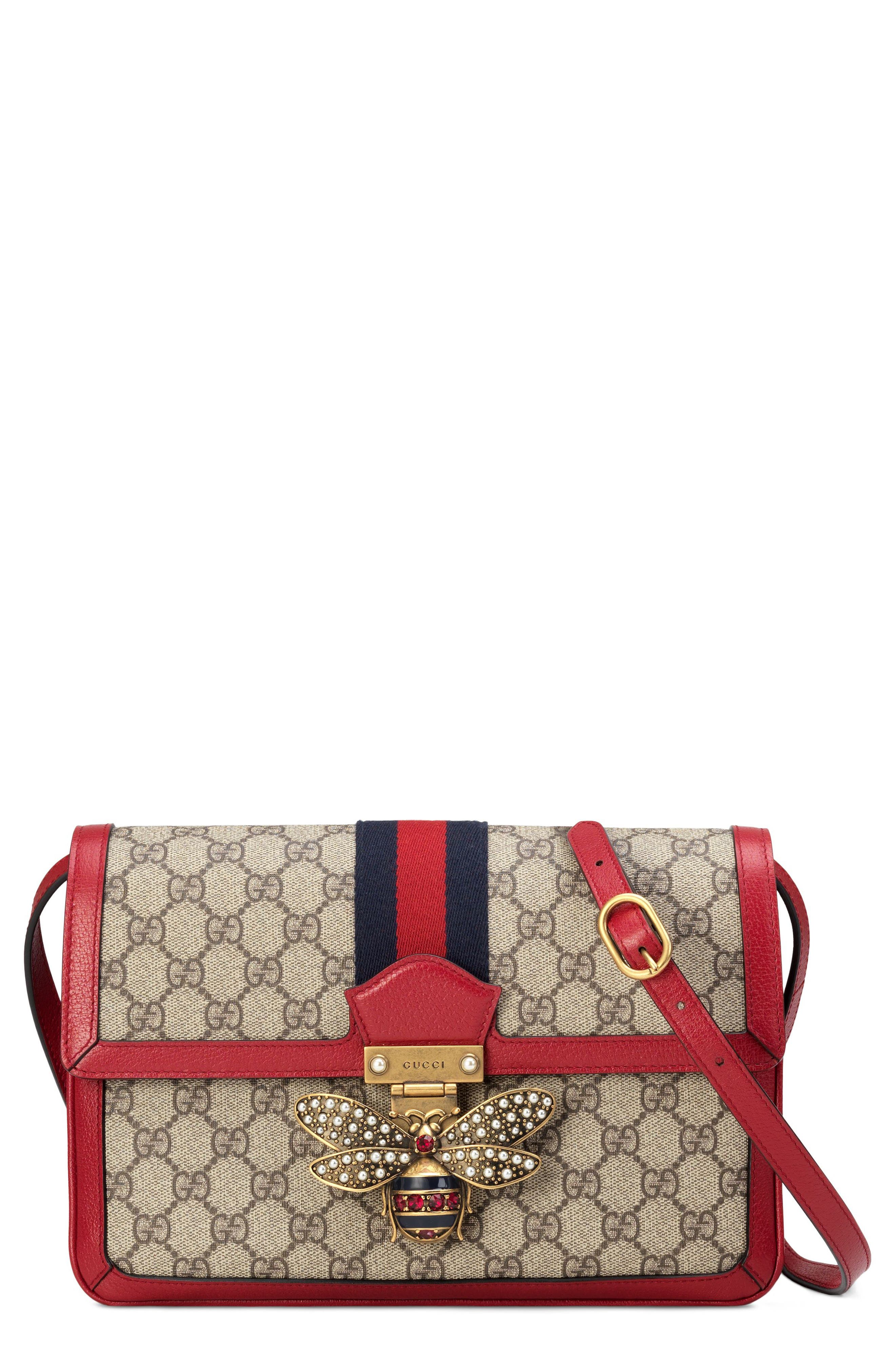 Queen Margaret GG Supreme Small Crossbody Bag,                             Main thumbnail 1, color,                             Beige Ebony/ Blue Red/ Ruby