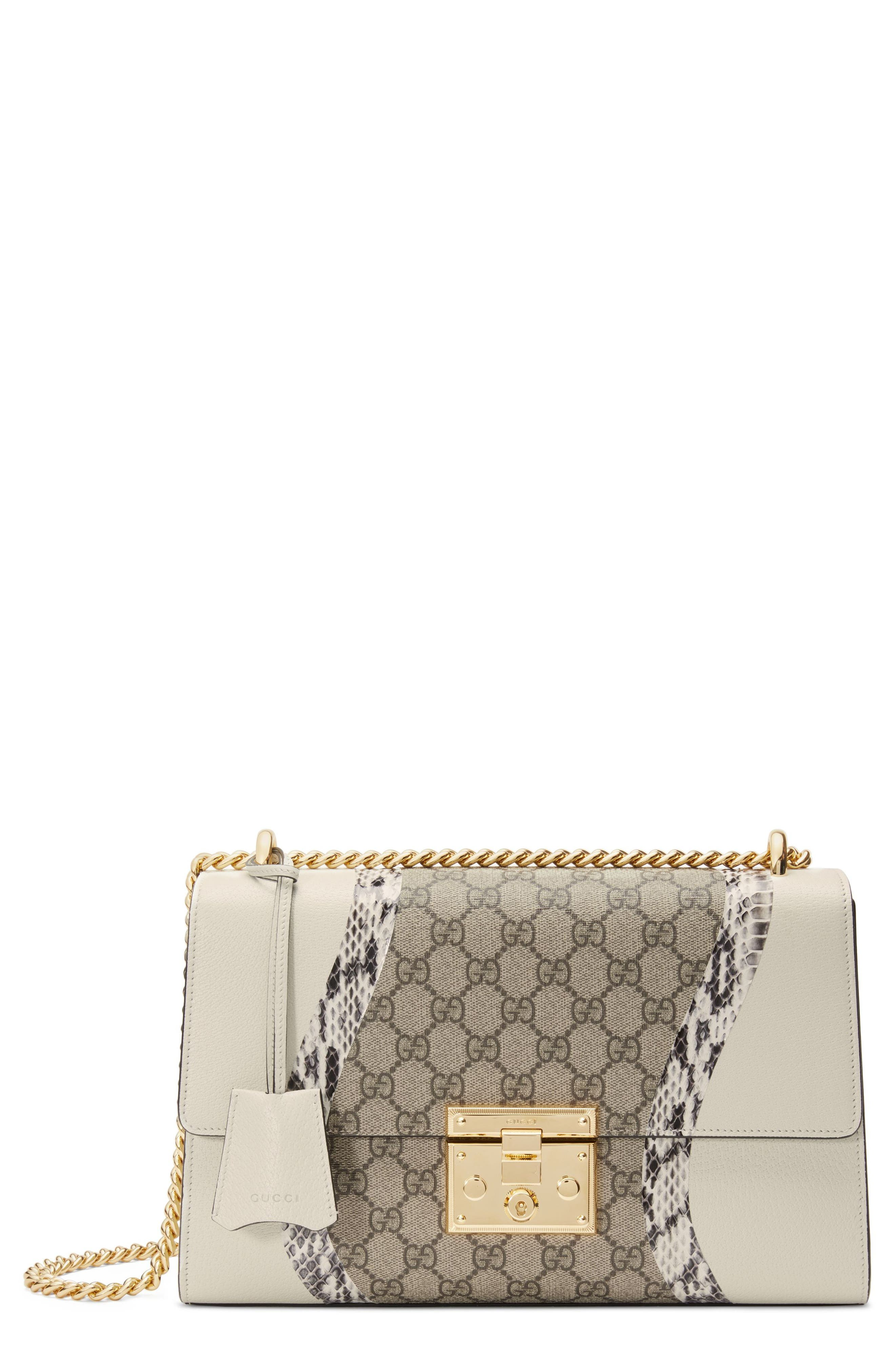 Medium Padlock GG Supreme Wave Shoulder Bag with Genuine Snakeskin Trim,                             Main thumbnail 1, color,                             White/ Roccia/ Beige Ebony