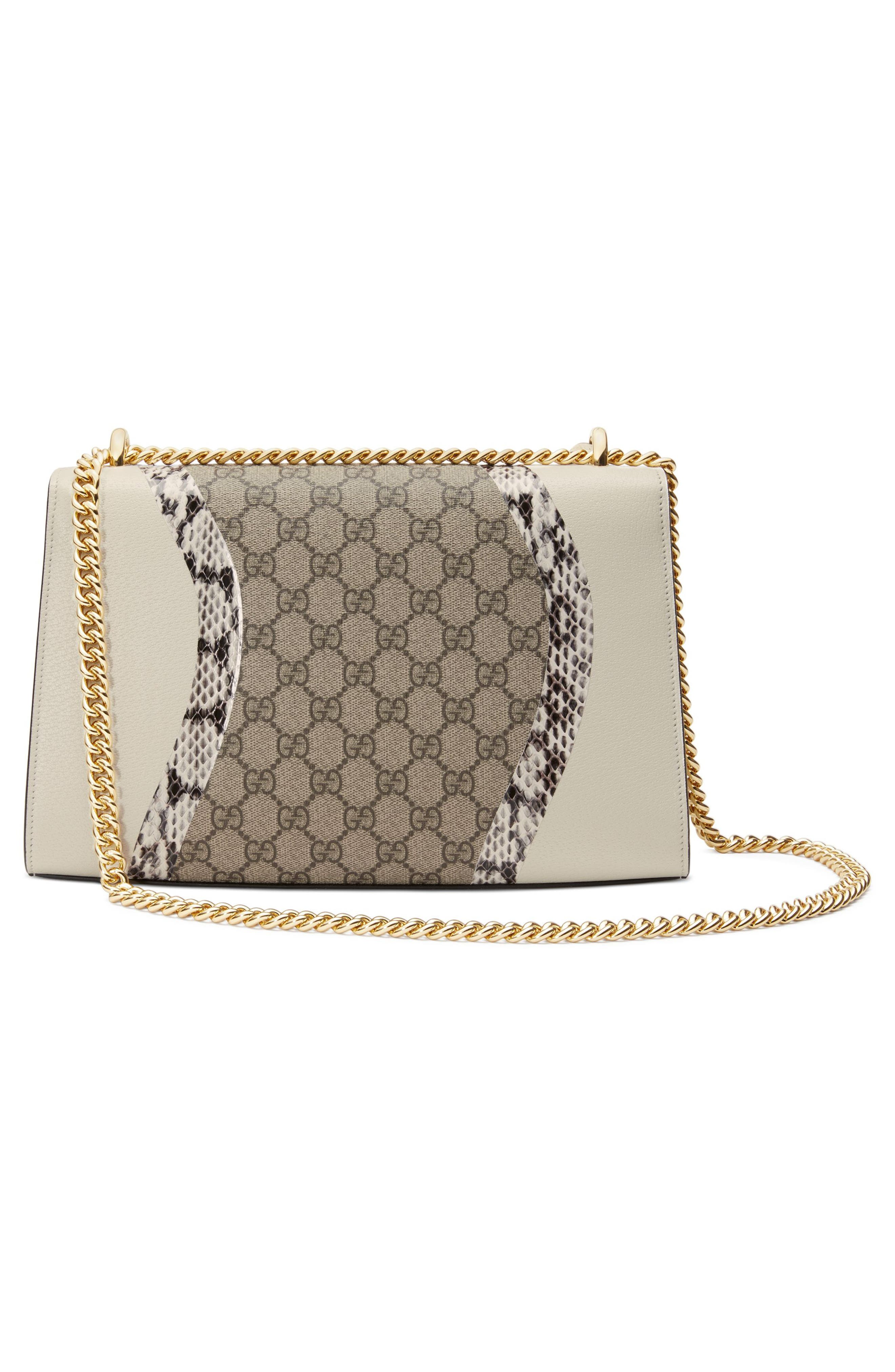 Medium Padlock GG Supreme Wave Shoulder Bag with Genuine Snakeskin Trim,                             Alternate thumbnail 2, color,                             White/ Roccia/ Beige Ebony
