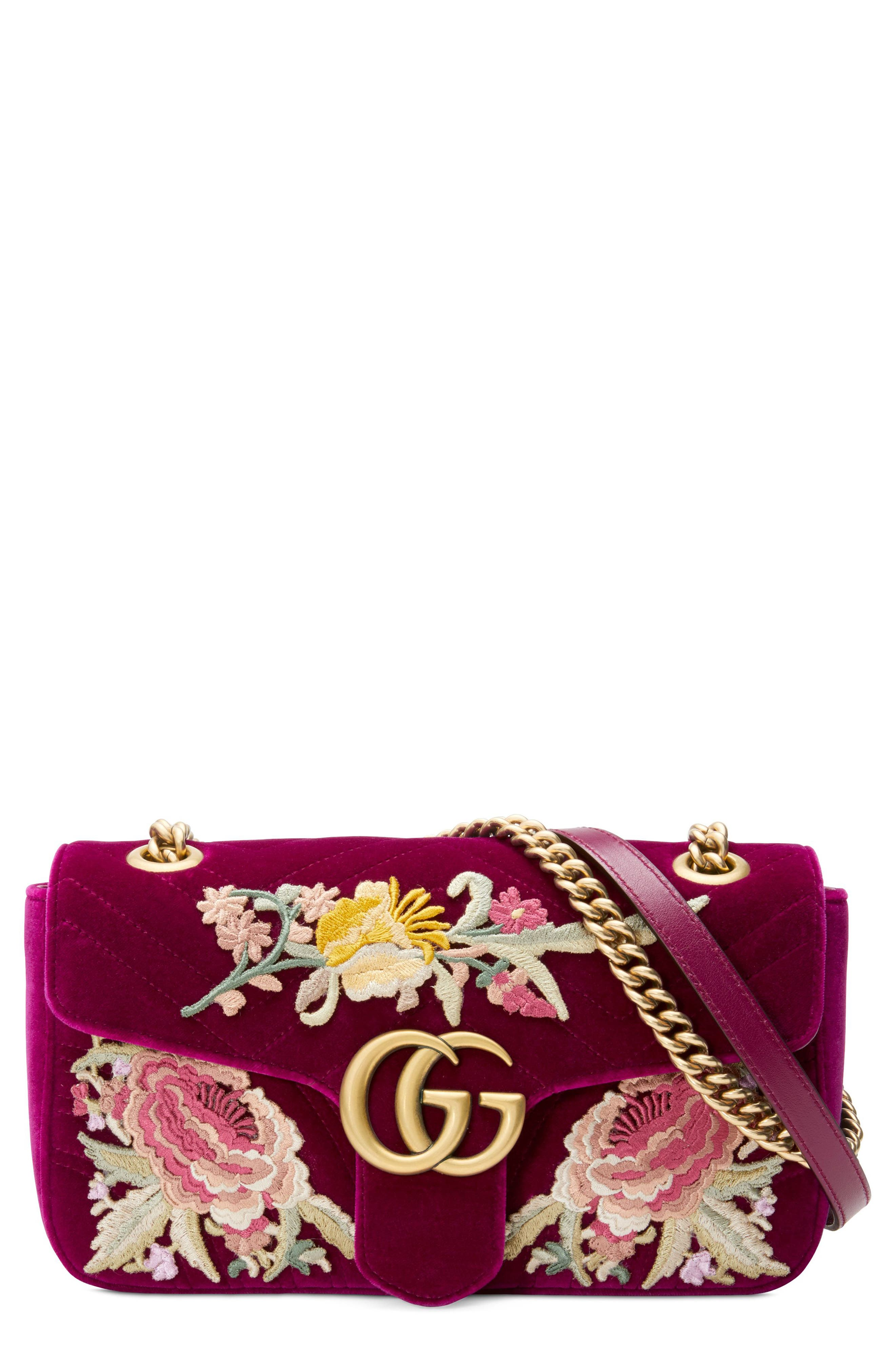 Small GG Marmont 2.0 Matelassé Velvet Shoulder Bag,                             Main thumbnail 1, color,                             Fuchsia/ Fuchsia