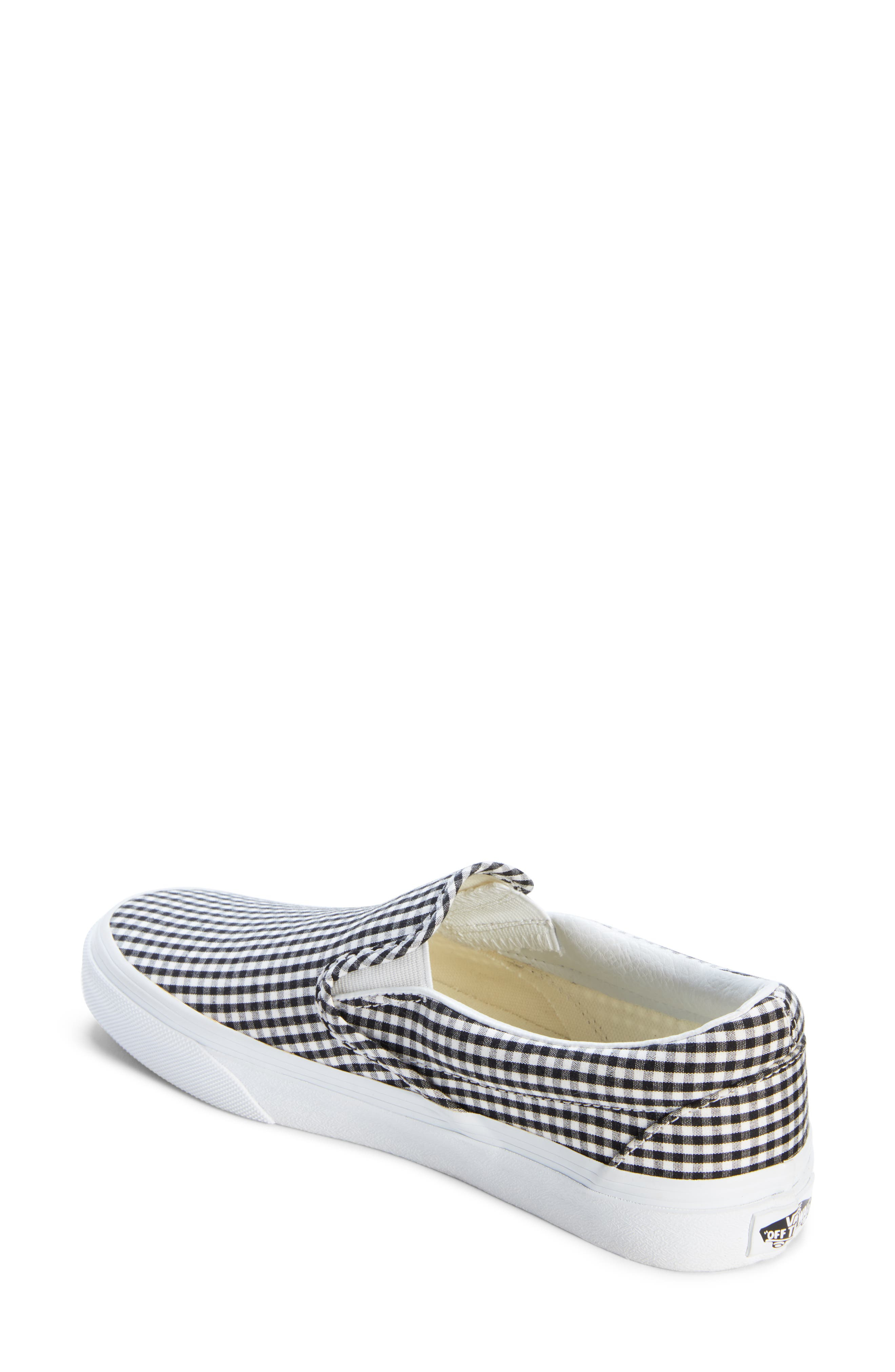 Classic Slip-On Sneaker,                             Alternate thumbnail 2, color,                             Black/ True White Gingham