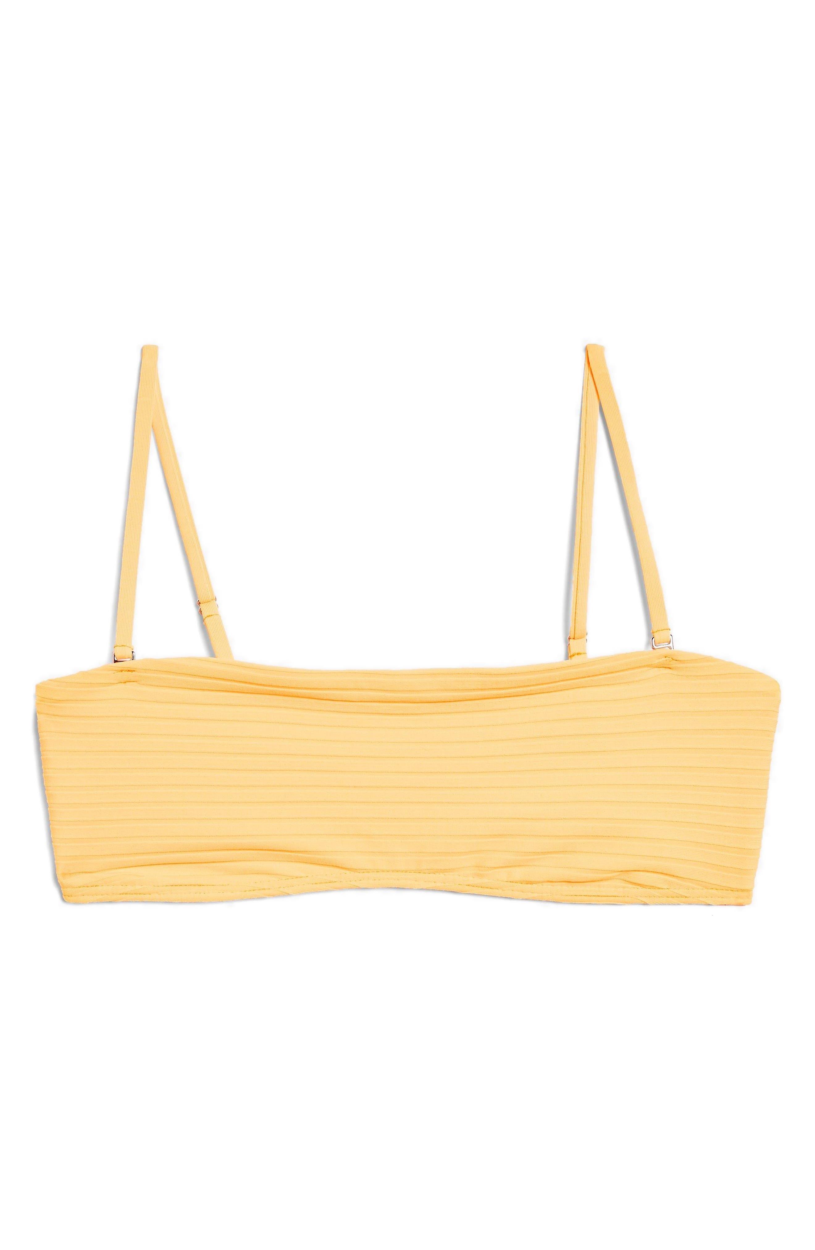 Wide Ribbed Bandeau Bikini Top,                             Alternate thumbnail 4, color,                             Orange