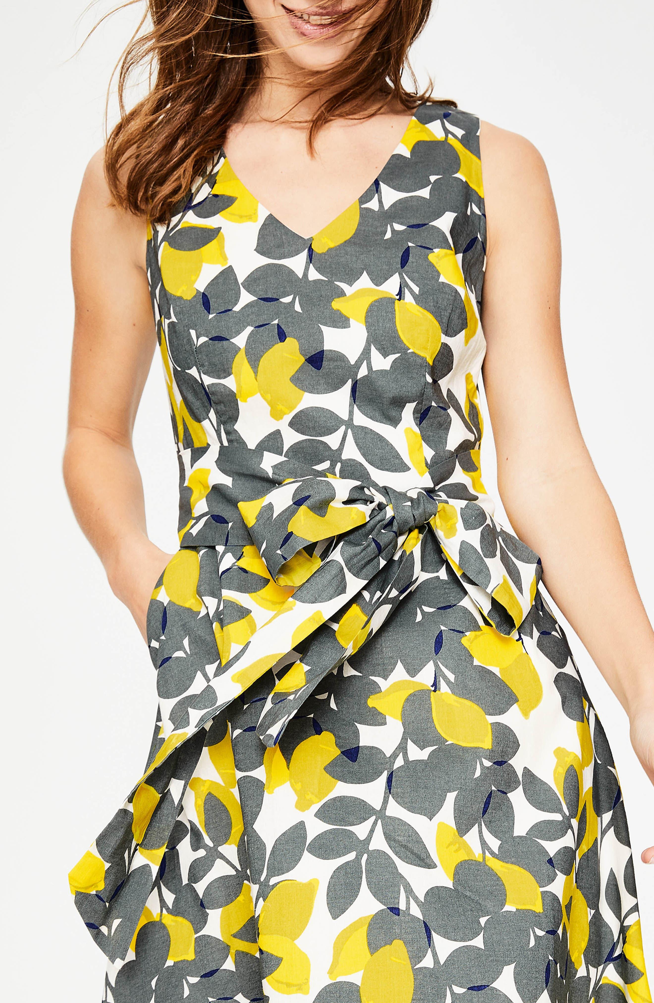 Jade Fit & Flare Linen Cotton Dress,                             Alternate thumbnail 2, color,                             Dark Sage Lemons
