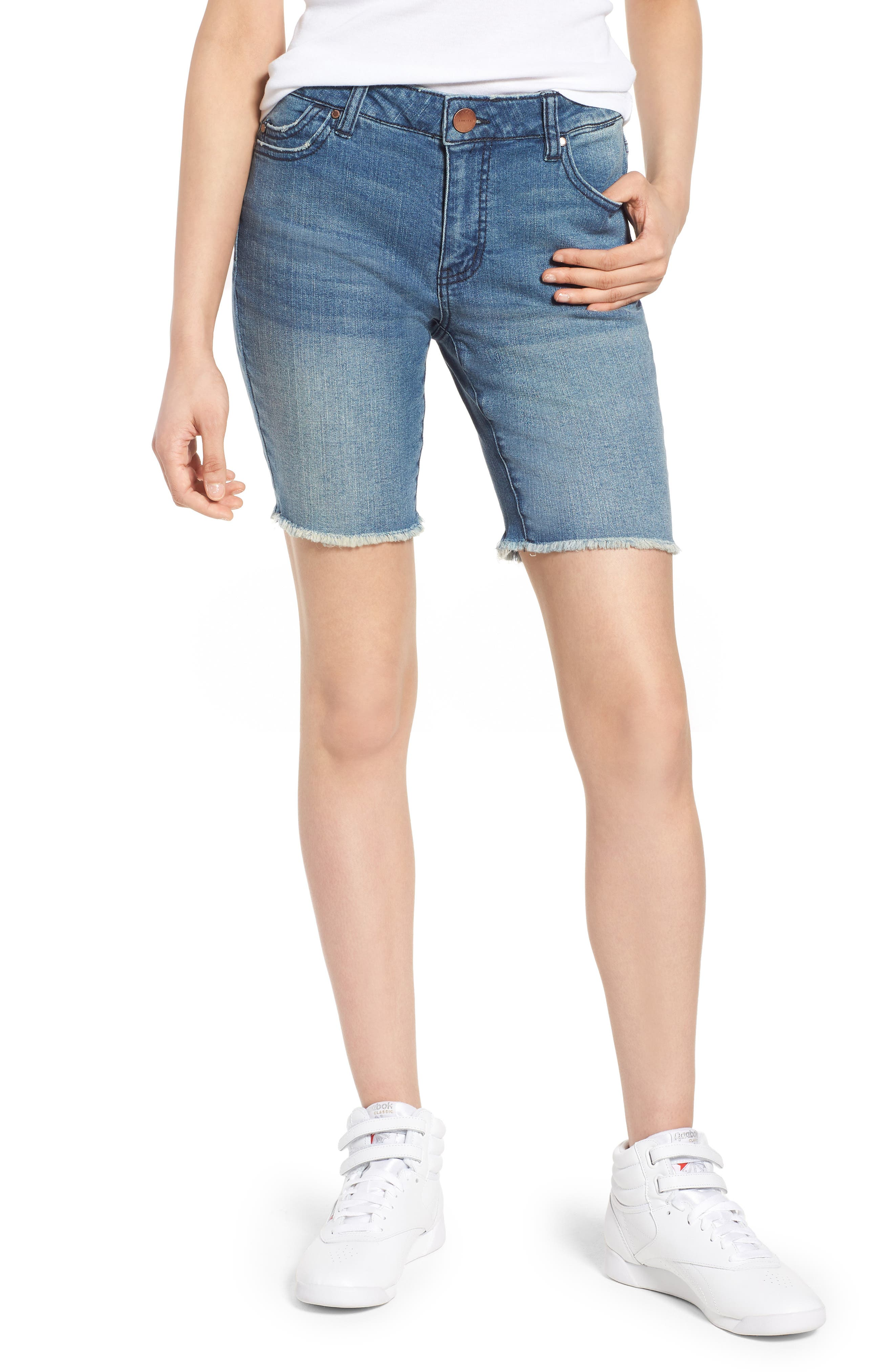 Fray Hem Denim Bermuda Shorts,                         Main,                         color, Vagabond Medium Wash