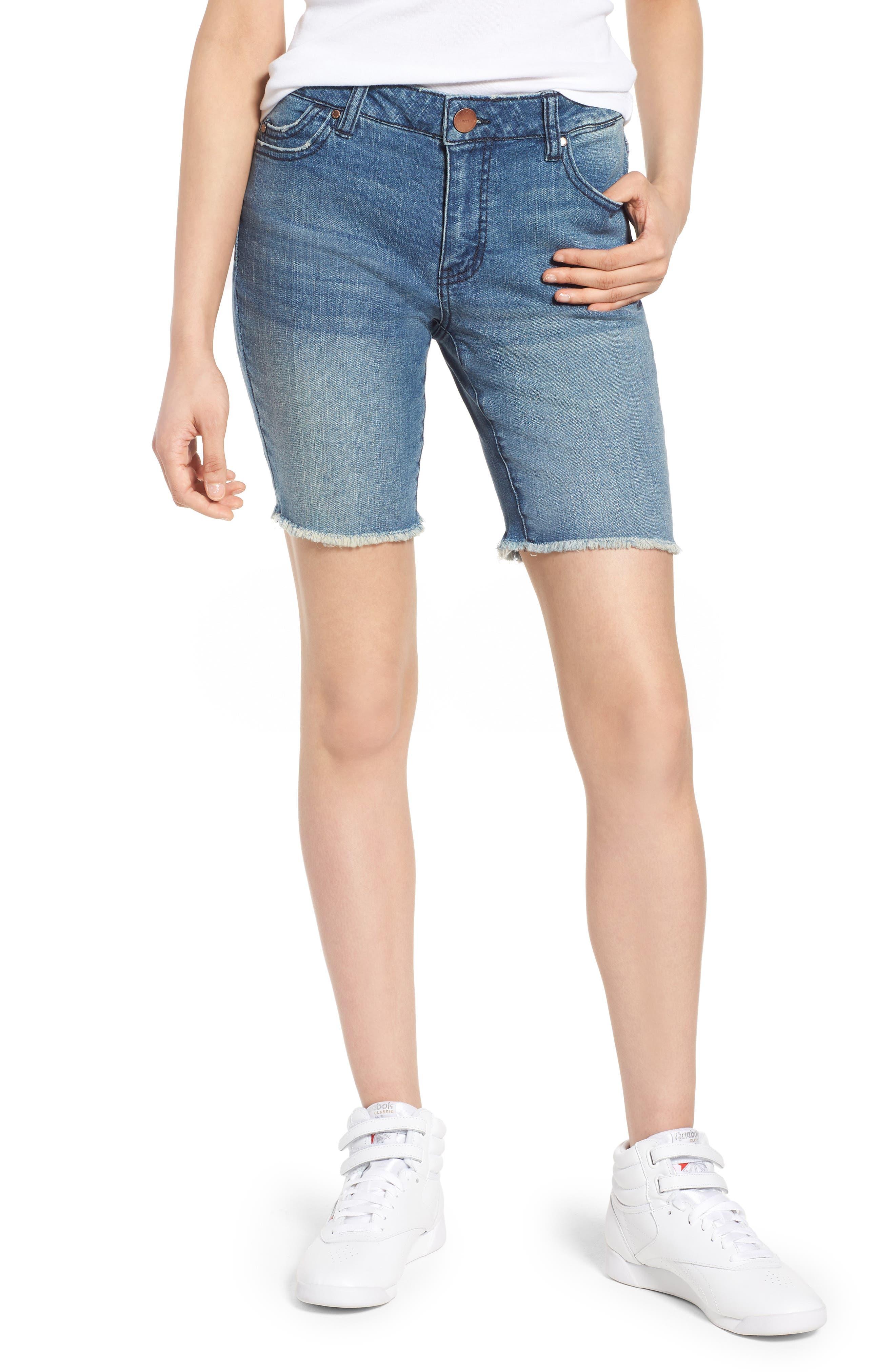 Tinsel Fray Hem Denim Bermuda Shorts (Vagabond)