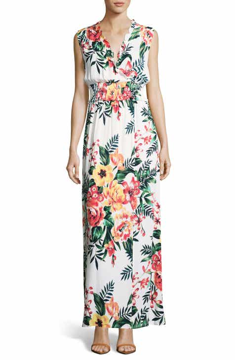 Eci Print Smock Waist Maxi Dress