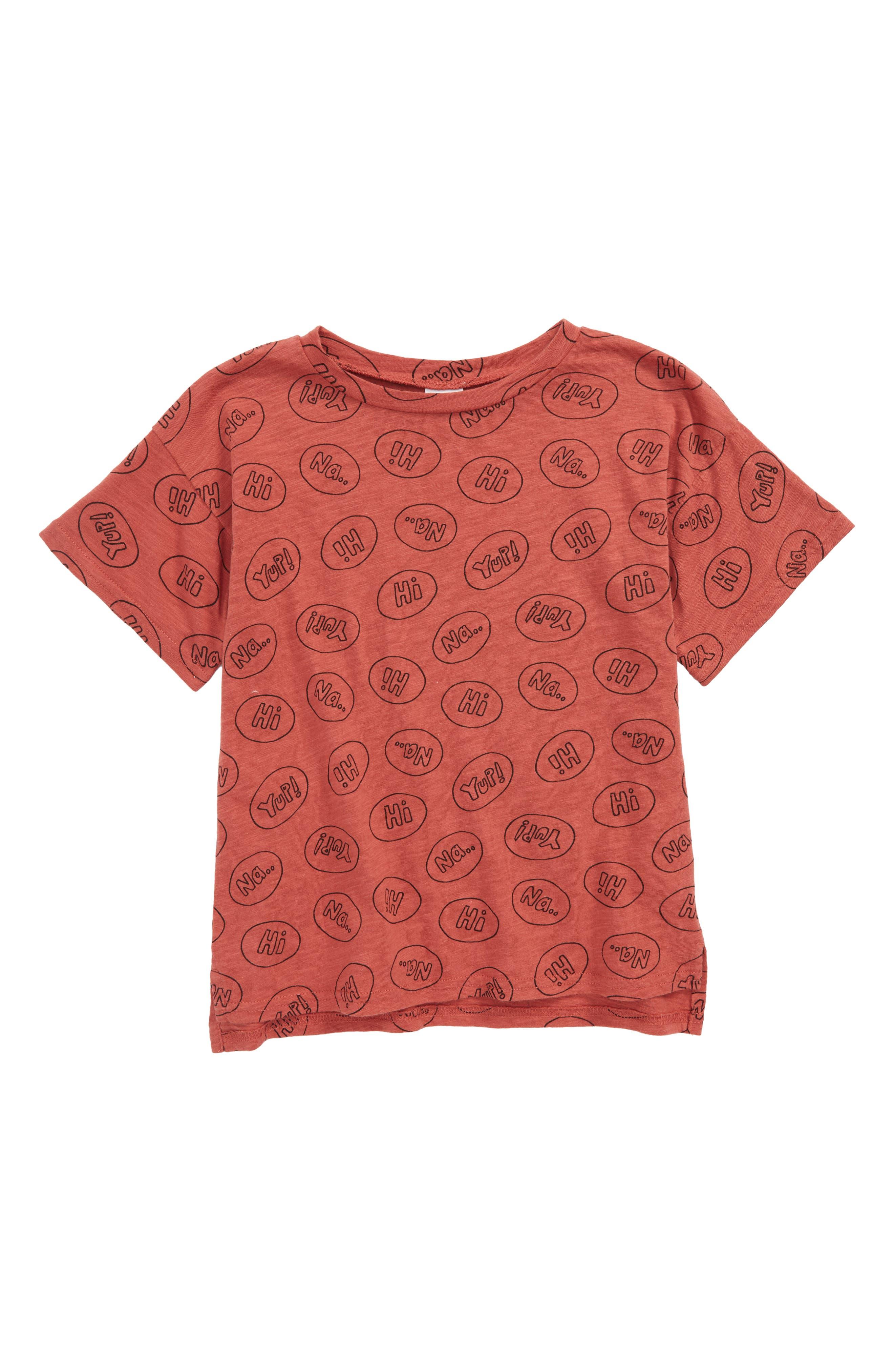 Print T-Shirt,                         Main,                         color, Rust Marsala Slogans
