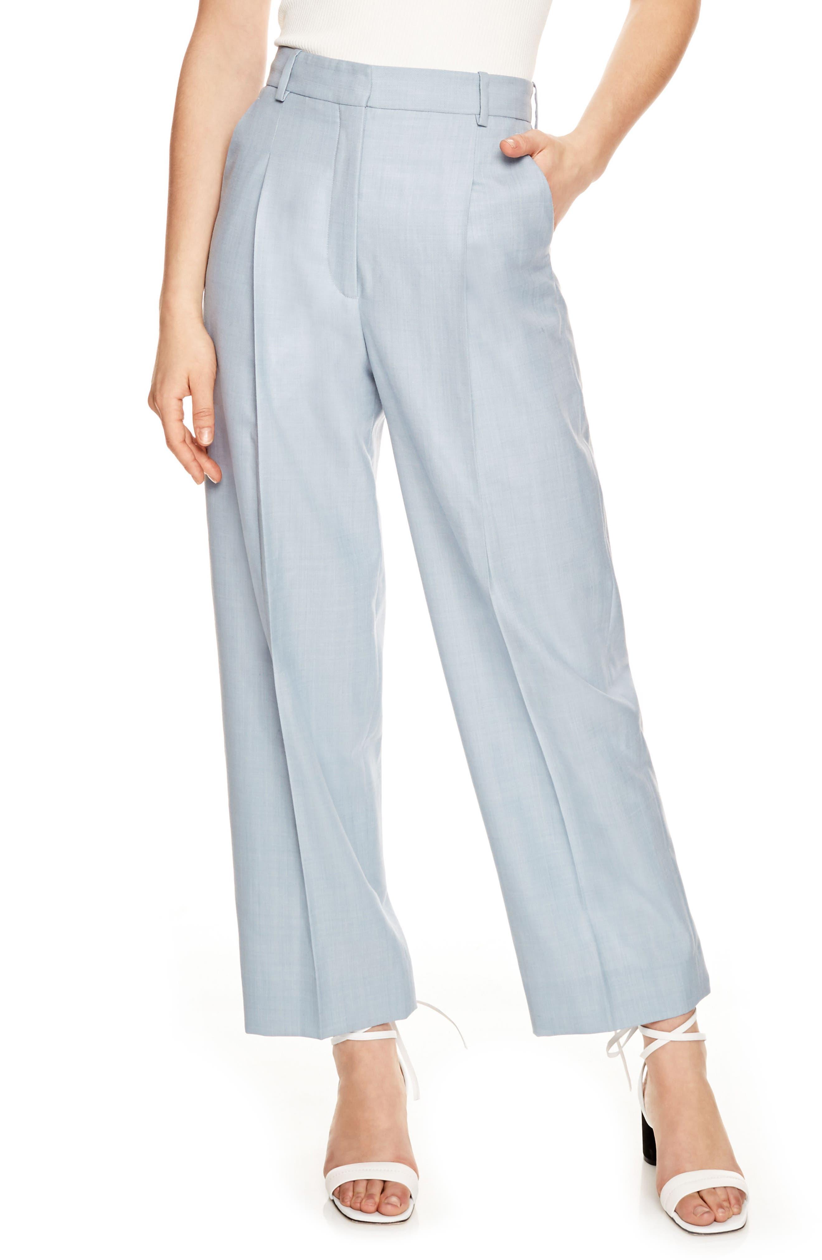 Wide Leg Trousers,                         Main,                         color, Bleu Ciel