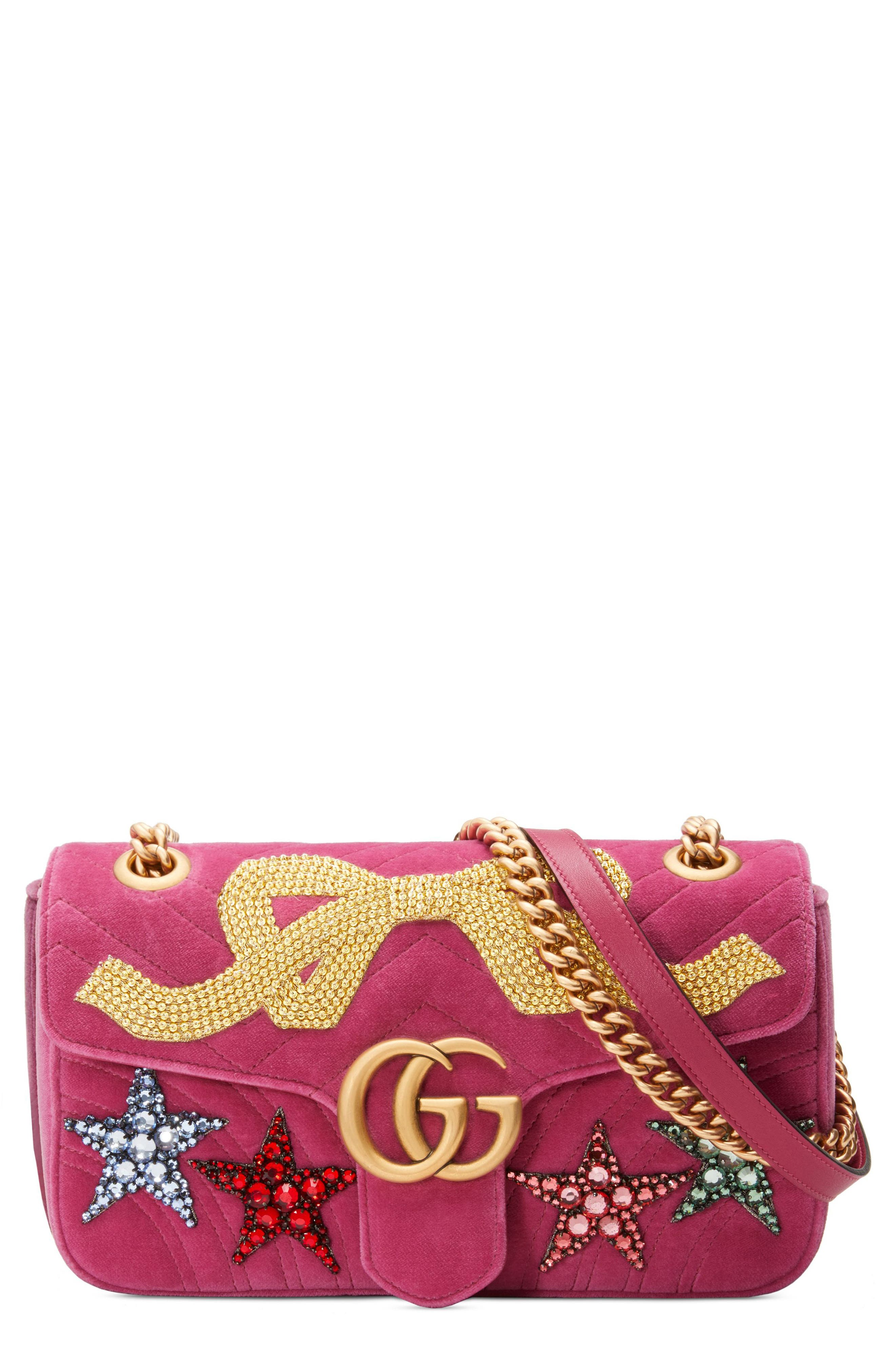 Small GG Marmont 2.0 Matelassé Velvet Shoulder Bag,                         Main,                         color, Raspberry/ Raspberry Multi
