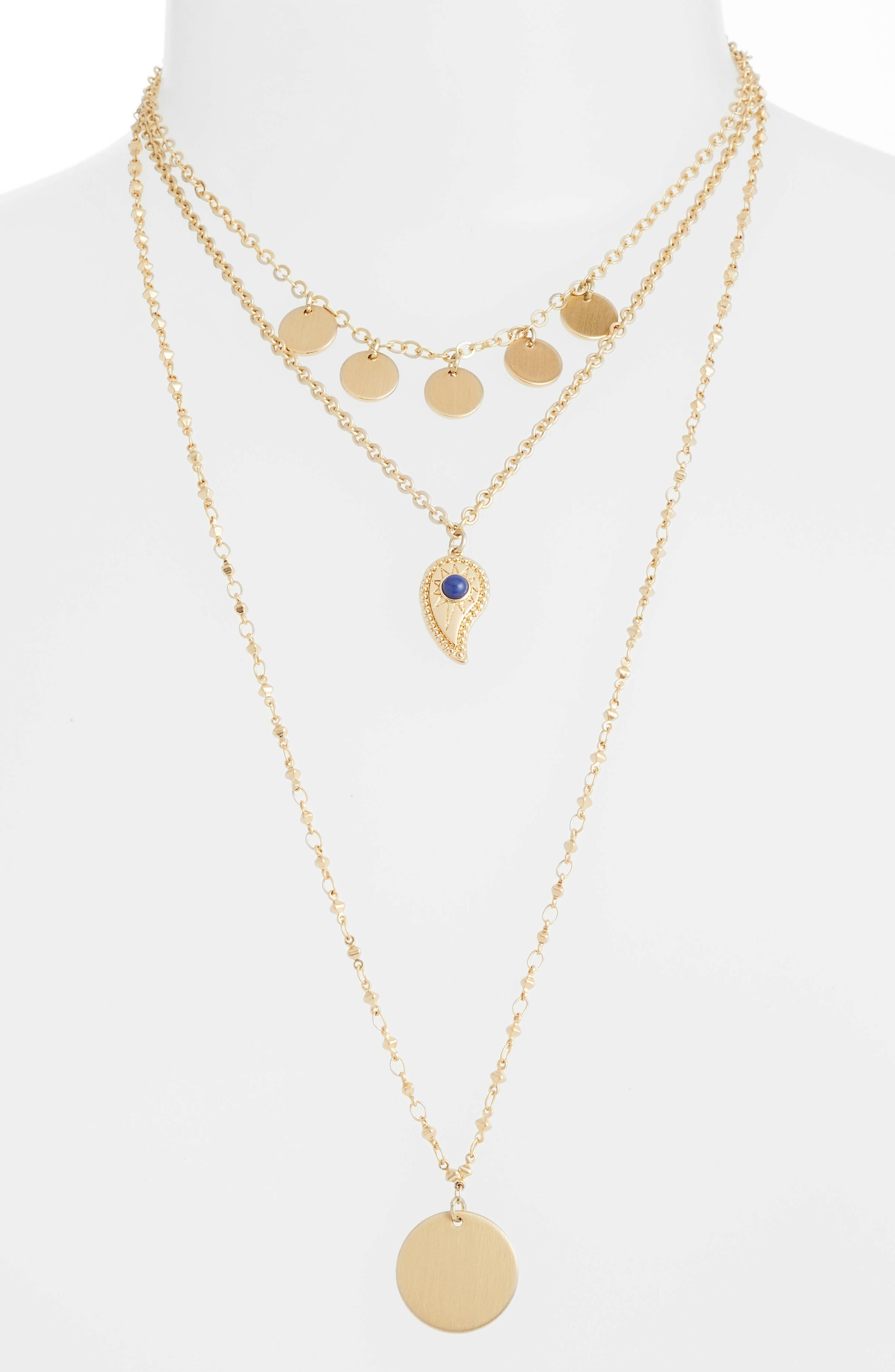 Triple Layer Paisley Necklace,                             Main thumbnail 1, color,                             Gold