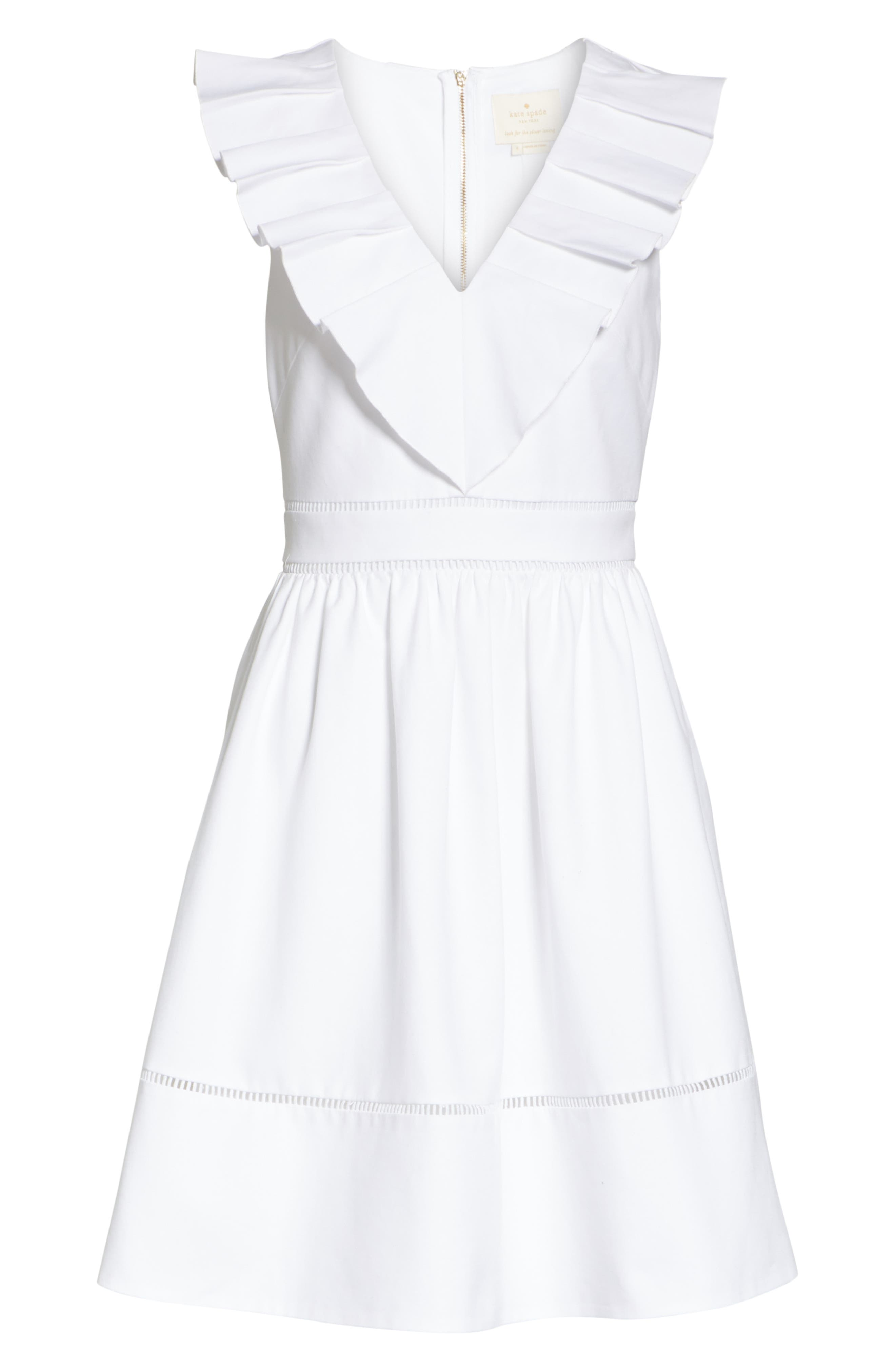sleeveless ruffle neck stretch cotton dress,                             Alternate thumbnail 6, color,                             Fresh White